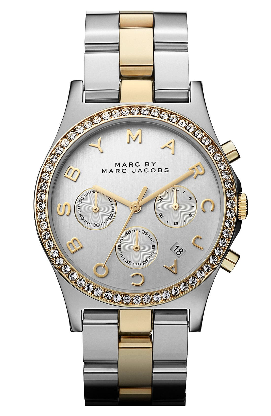 Alternate Image 1 Selected - MARC JACOBS 'Henry' Chronograph & Crystal Topring Watch