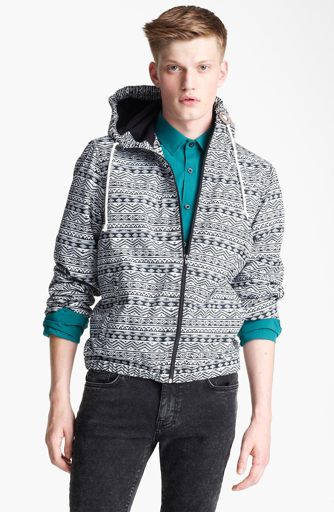 Alternate Image 1 Selected - Topman All Over Print Hooded Jacket