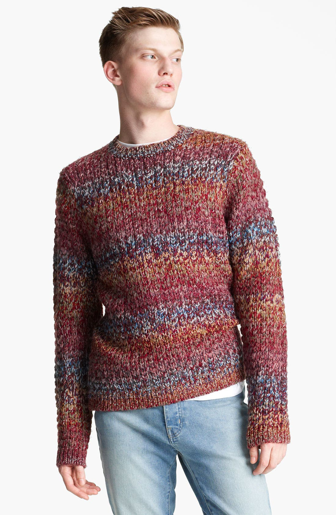 Main Image - Topman Ombré Knit Crewneck Sweater