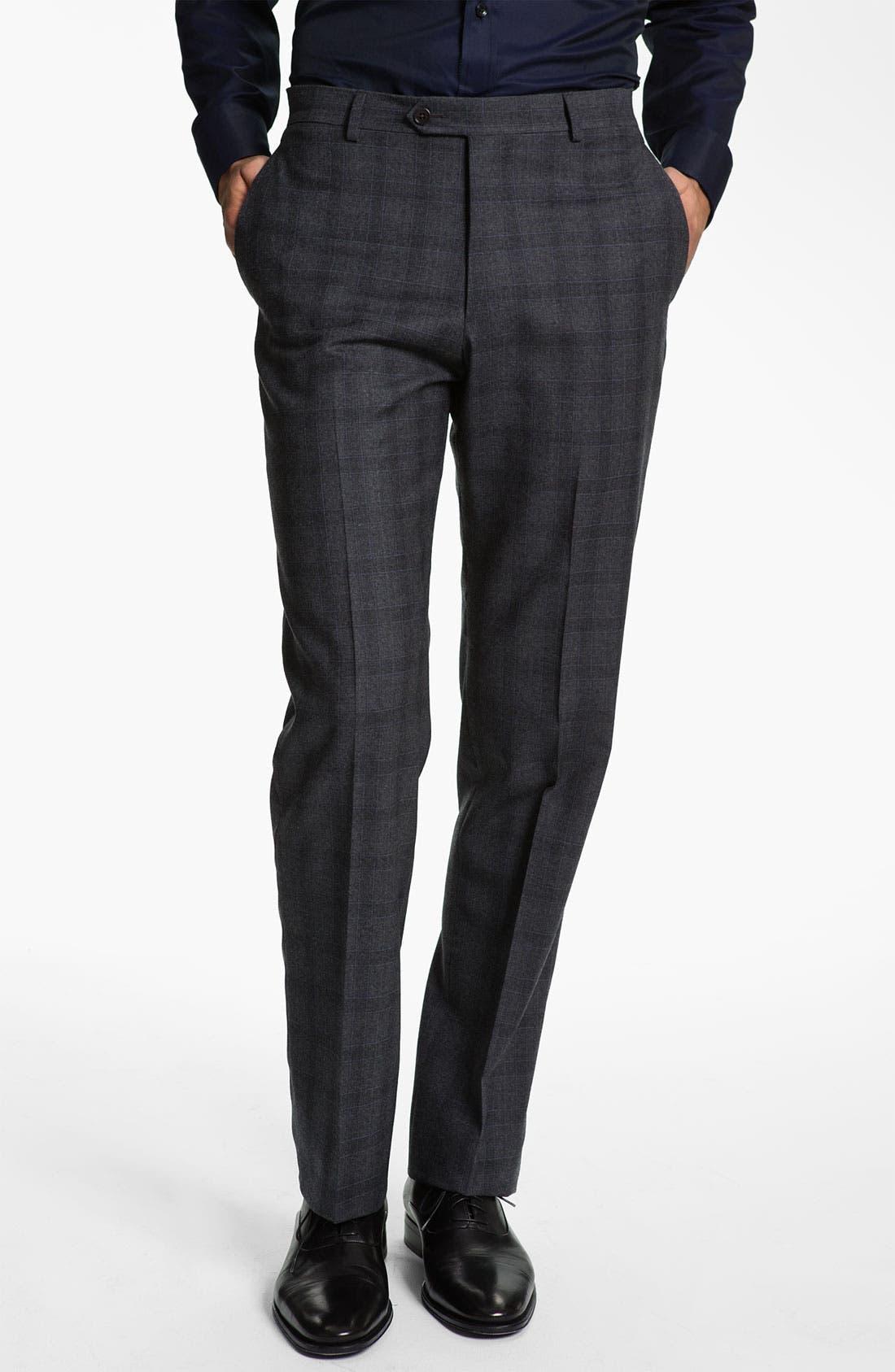 Alternate Image 1 Selected - Armani Collezioni Plaid Print Wool Trousers