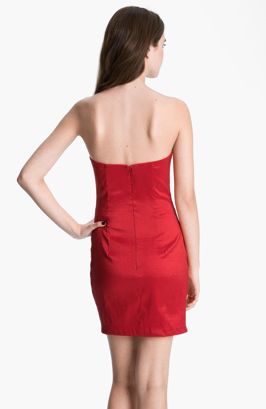 Alternate Image 2  - Jessica McClintock Strapless Lace & Taffeta Sheath Dress
