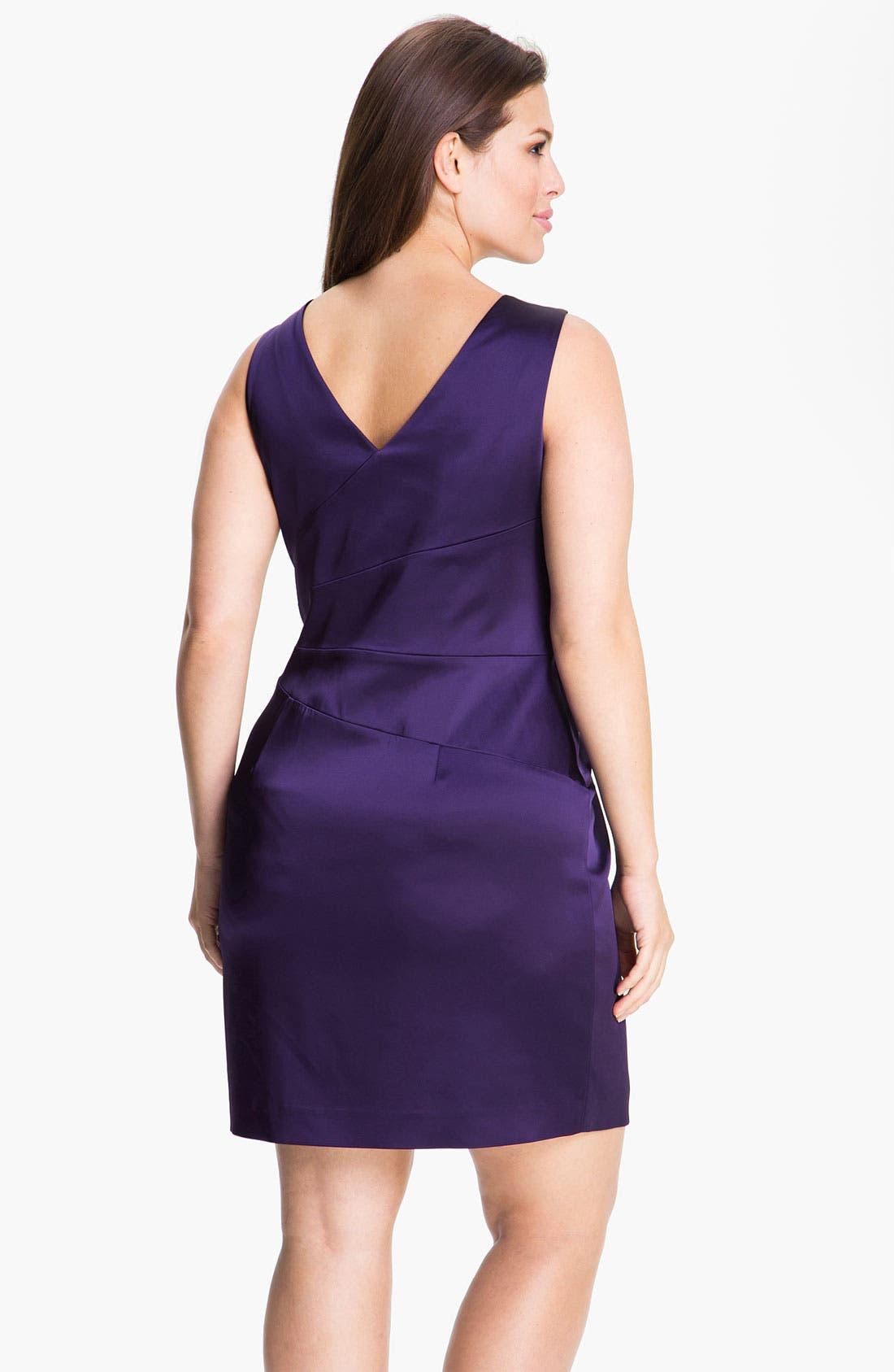 Alternate Image 2  - Calvin Klein Stretch Satin Sheath Dress (Plus)