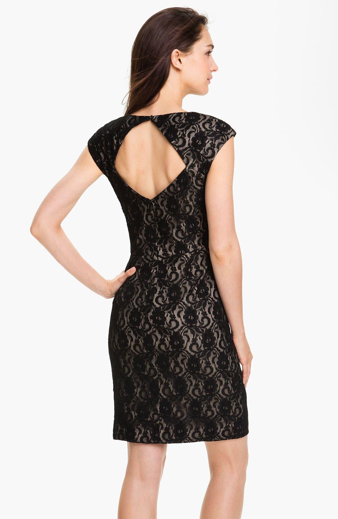Alternate Image 2  - Maggy London Surplice Lace Sheath Dress