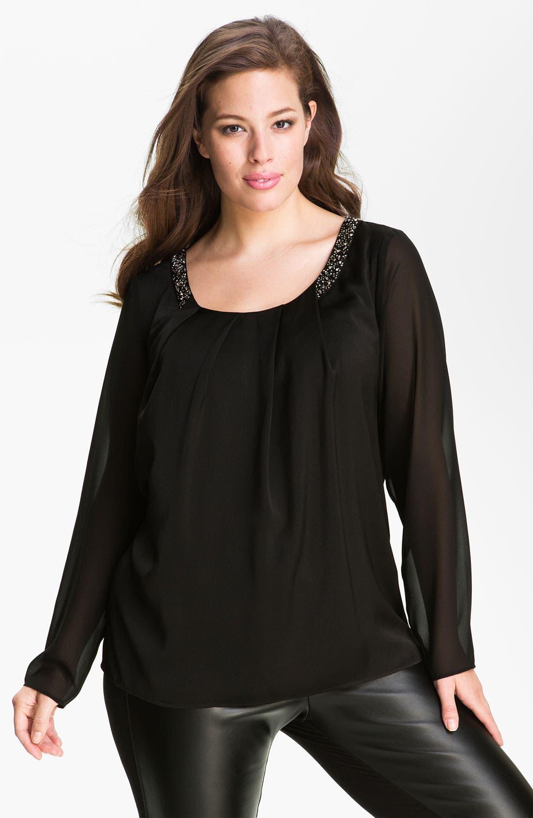 Alternate Image 1 Selected - DKNYC Beaded Sheer Sleeve Top (Plus)