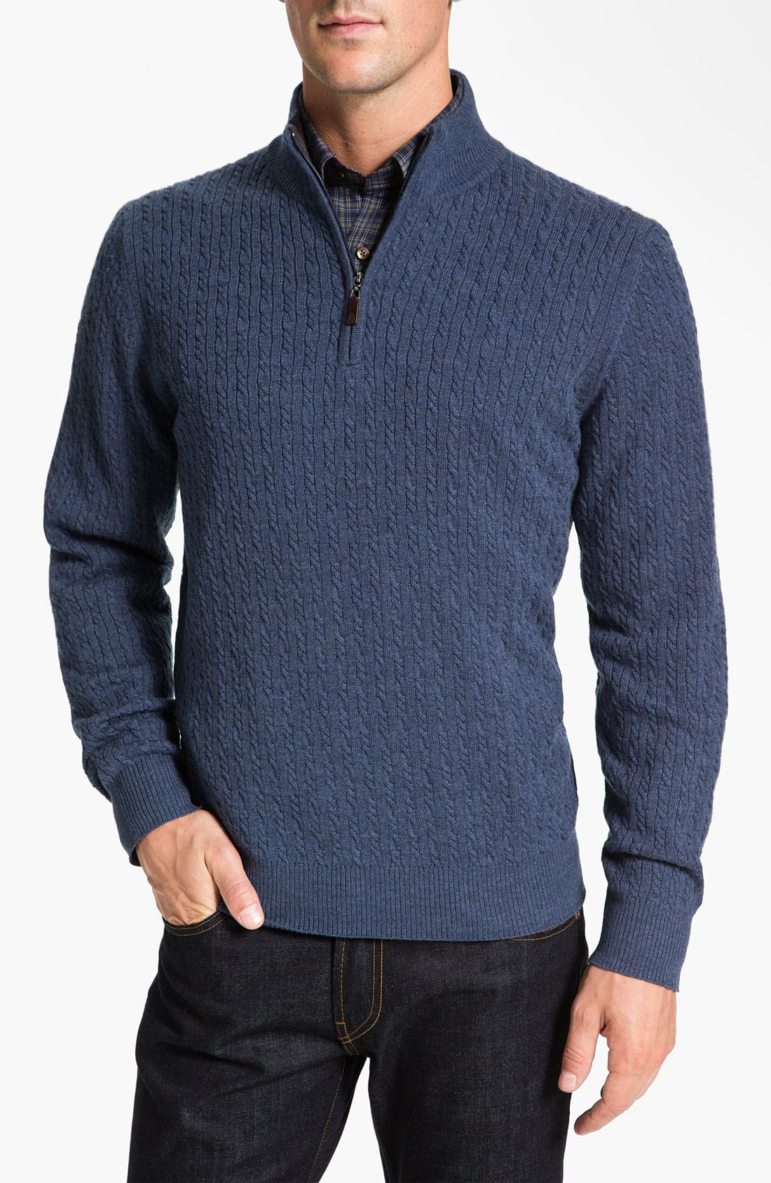 Alternate Image 1 Selected - Robert Talbott Cable Knit Merino Wool Sweater (Online Only)