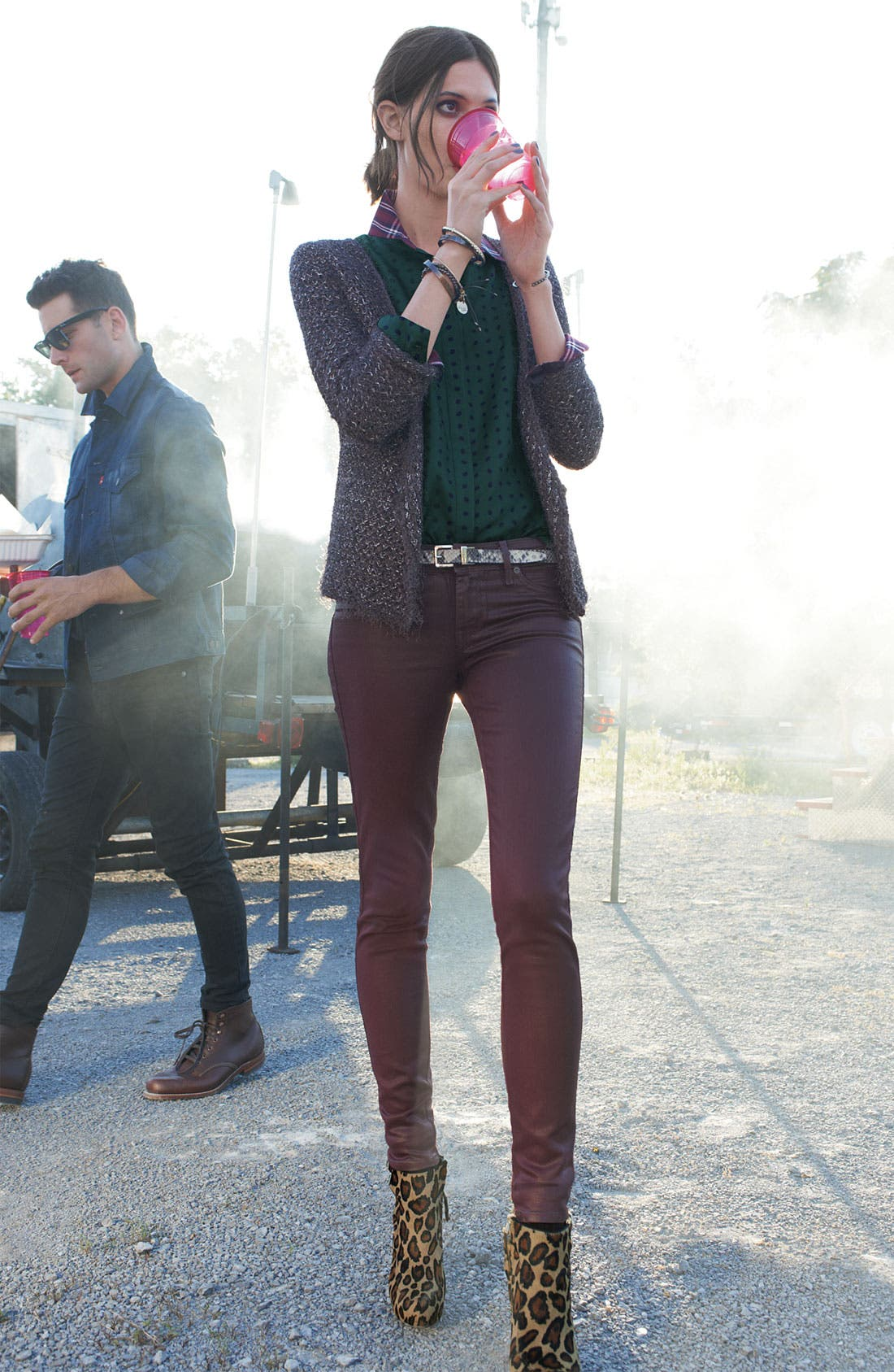 Alternate Image 1 Selected - Plastic Island Cardigan, Gibson Shirt & Rich & Skinny Jeans