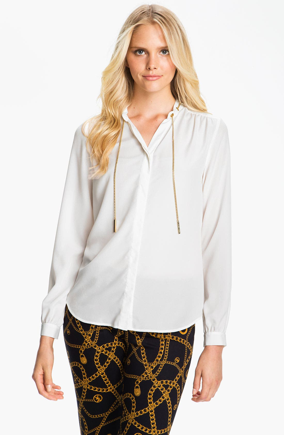 Alternate Image 1 Selected - MICHAEL Michael Kors Chain Detail Crepe Blouse