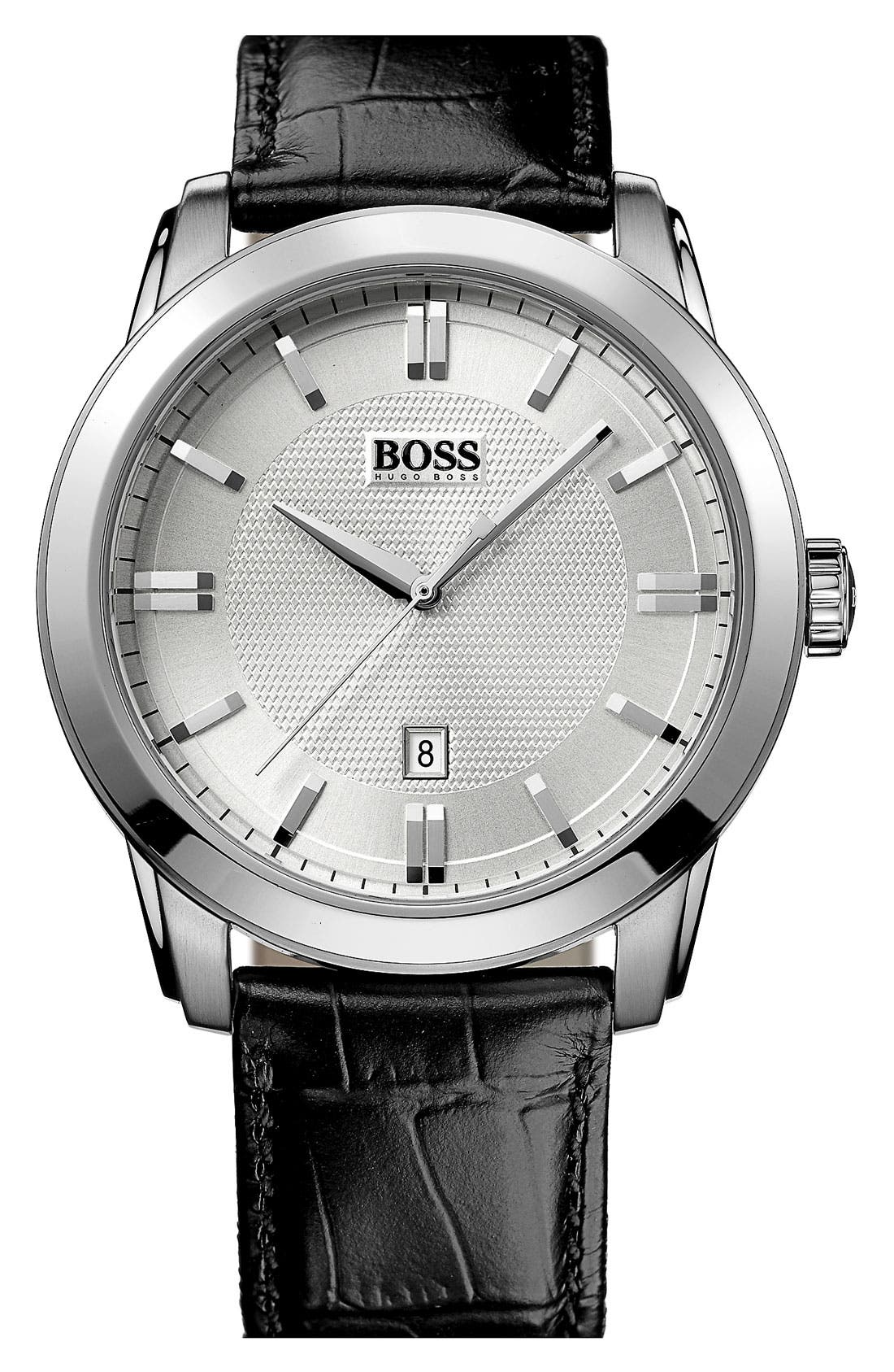 Alternate Image 1 Selected - BOSS HUGO BOSS Round Leather Strap Watch, 44mm