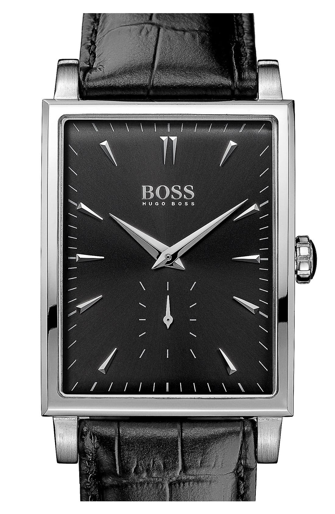 Alternate Image 1 Selected - BOSS HUGO BOSS Rectangular Leather Strap Watch, 31mm x 39mm