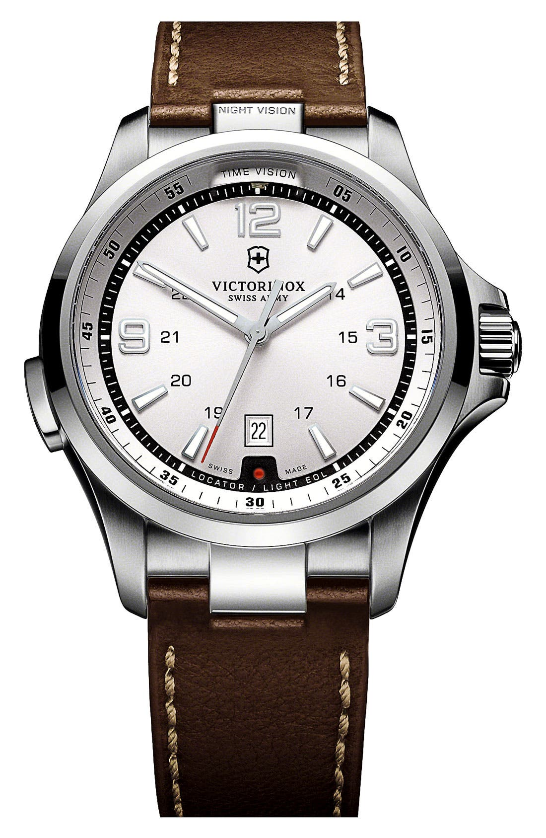 Alternate Image 1 Selected - Victorinox Swiss Army® 'Night Vision' Leather Strap Watch, 42mm