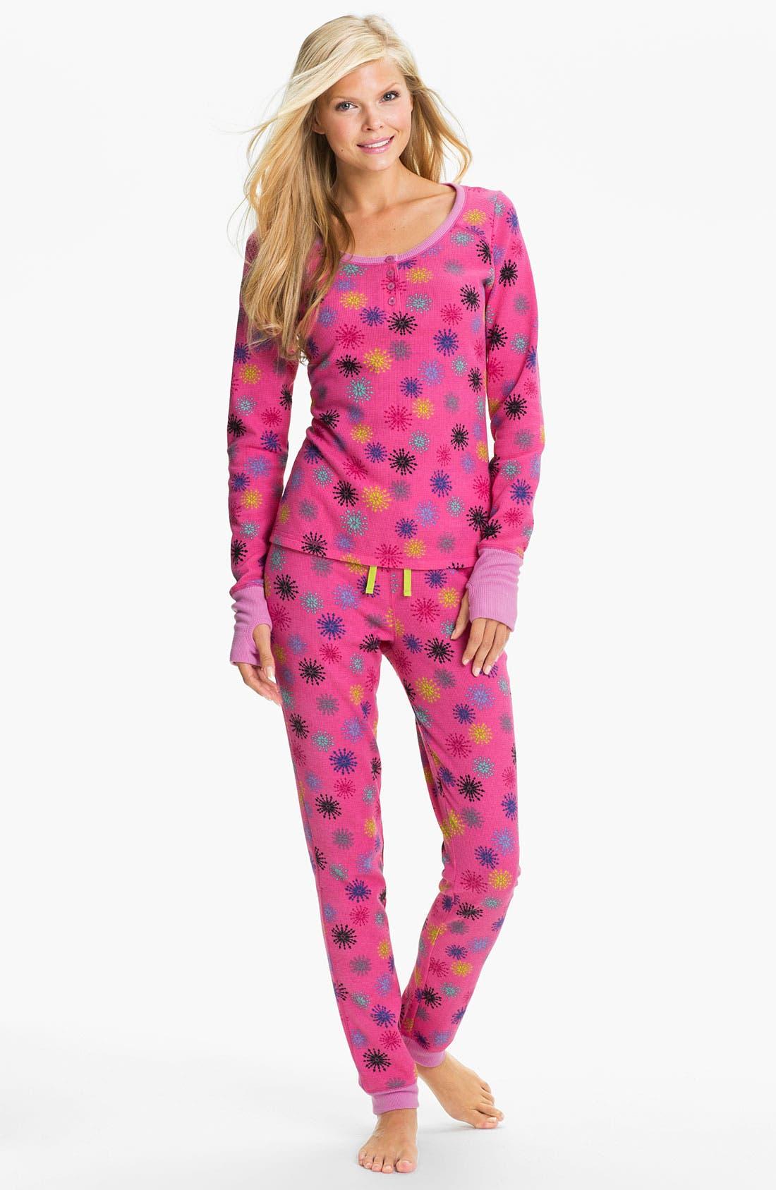 Alternate Image 1 Selected - Steve Madden 'Cozy Up' Print Thermal Pajamas