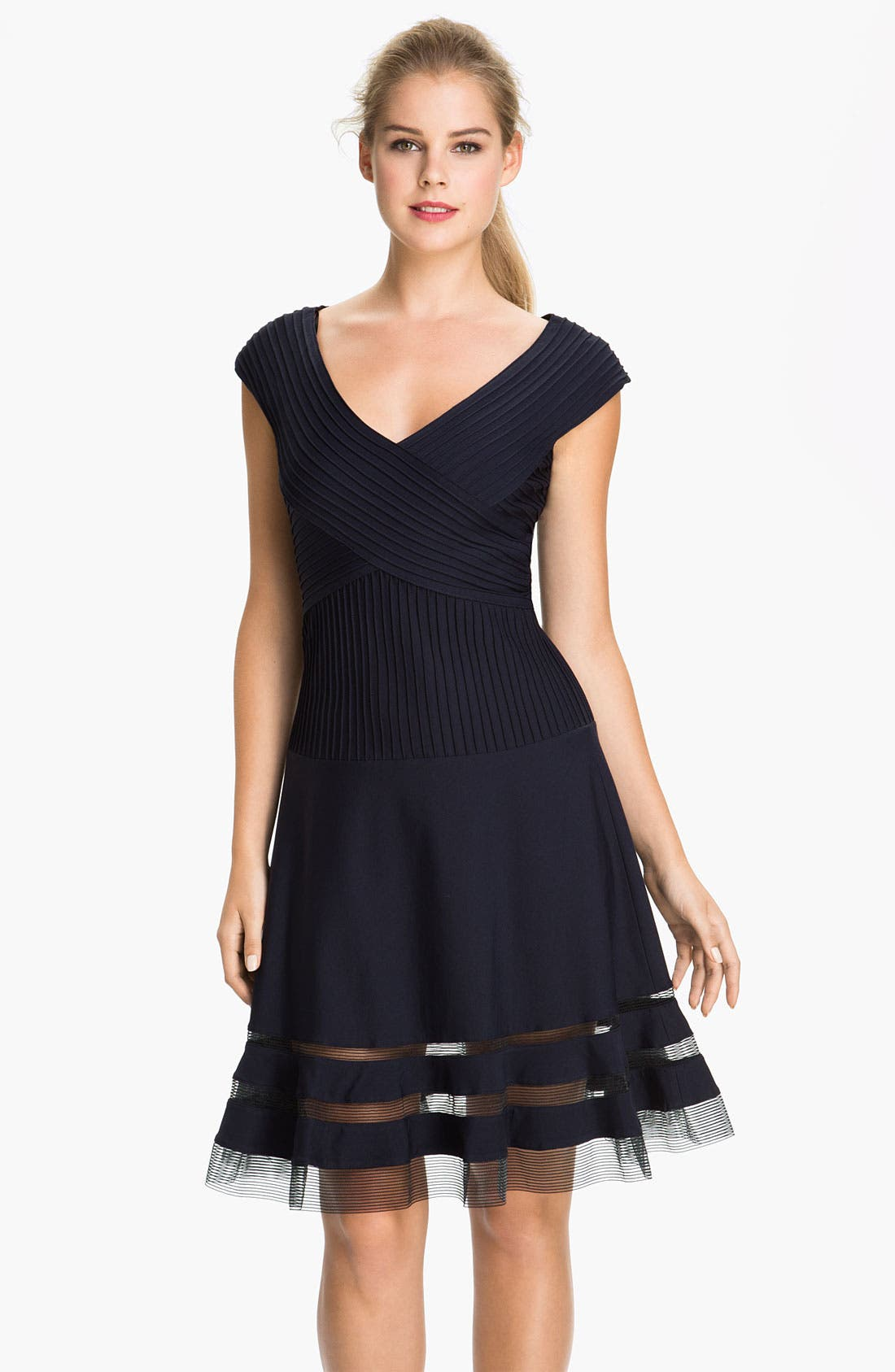 Alternate Image 1 Selected - Tadashi Shoji V-Neck Tulle Trim Fit & Flare Dress