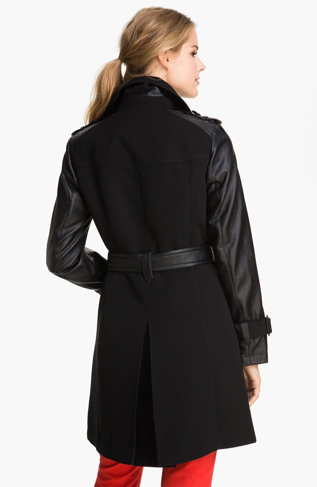 Alternate Image 2  - 1 Madison Faux Leather Sleeve Trench Coat
