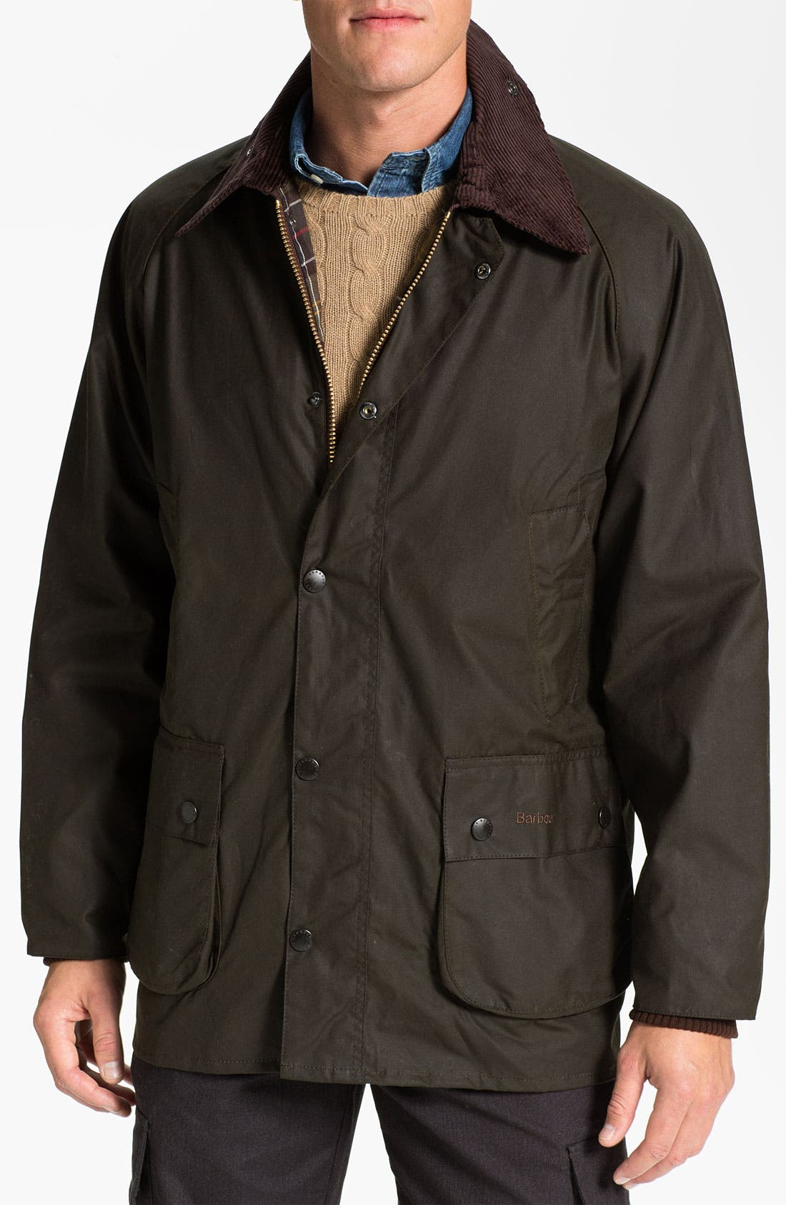 'Bedale' Relaxed Fit Waterproof Waxed Cotton Jacket,                         Main,                         color, Olive