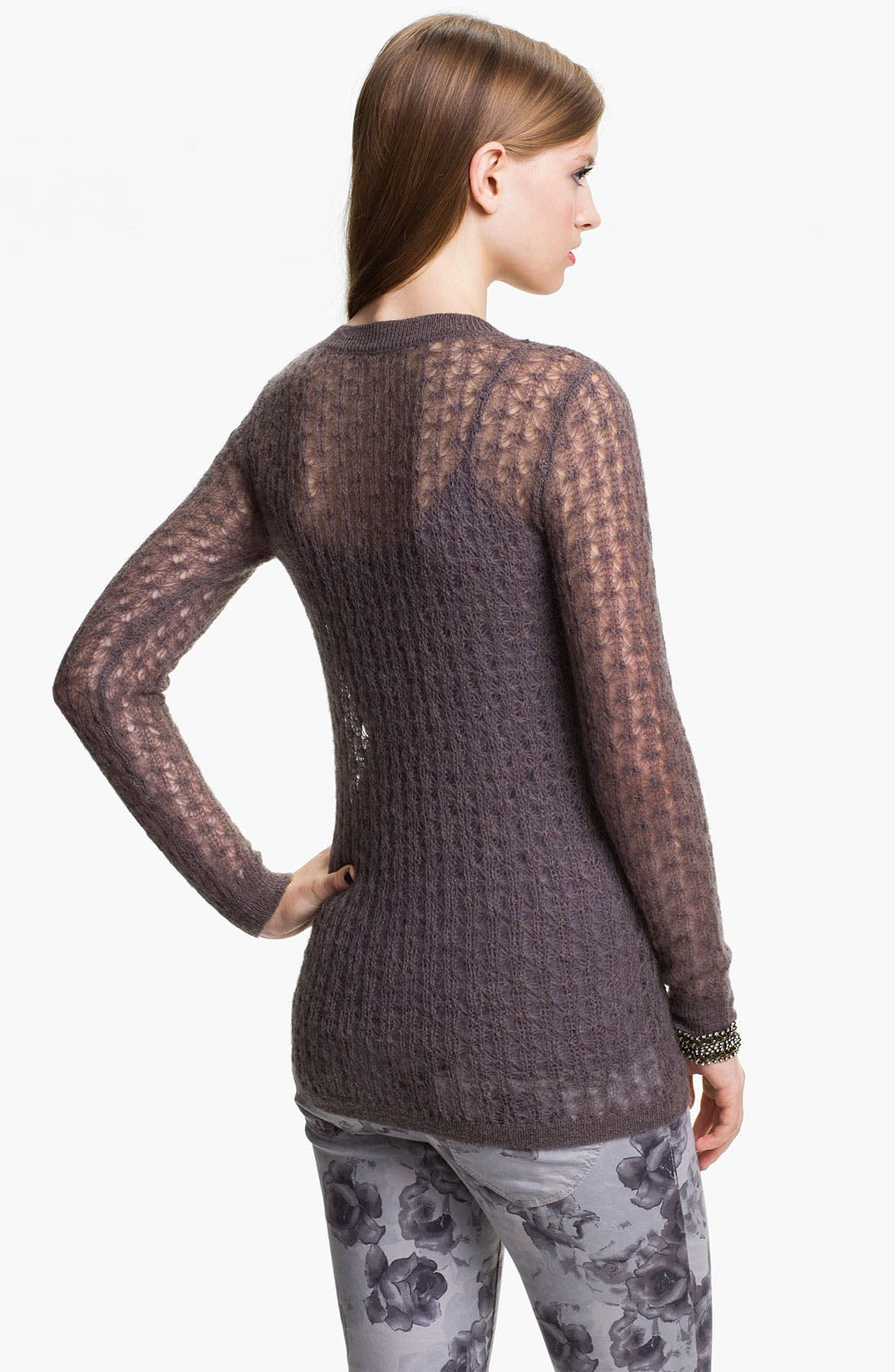 Alternate Image 2  - Frenchi® Sheer Pointelle Sweater (Juniors)