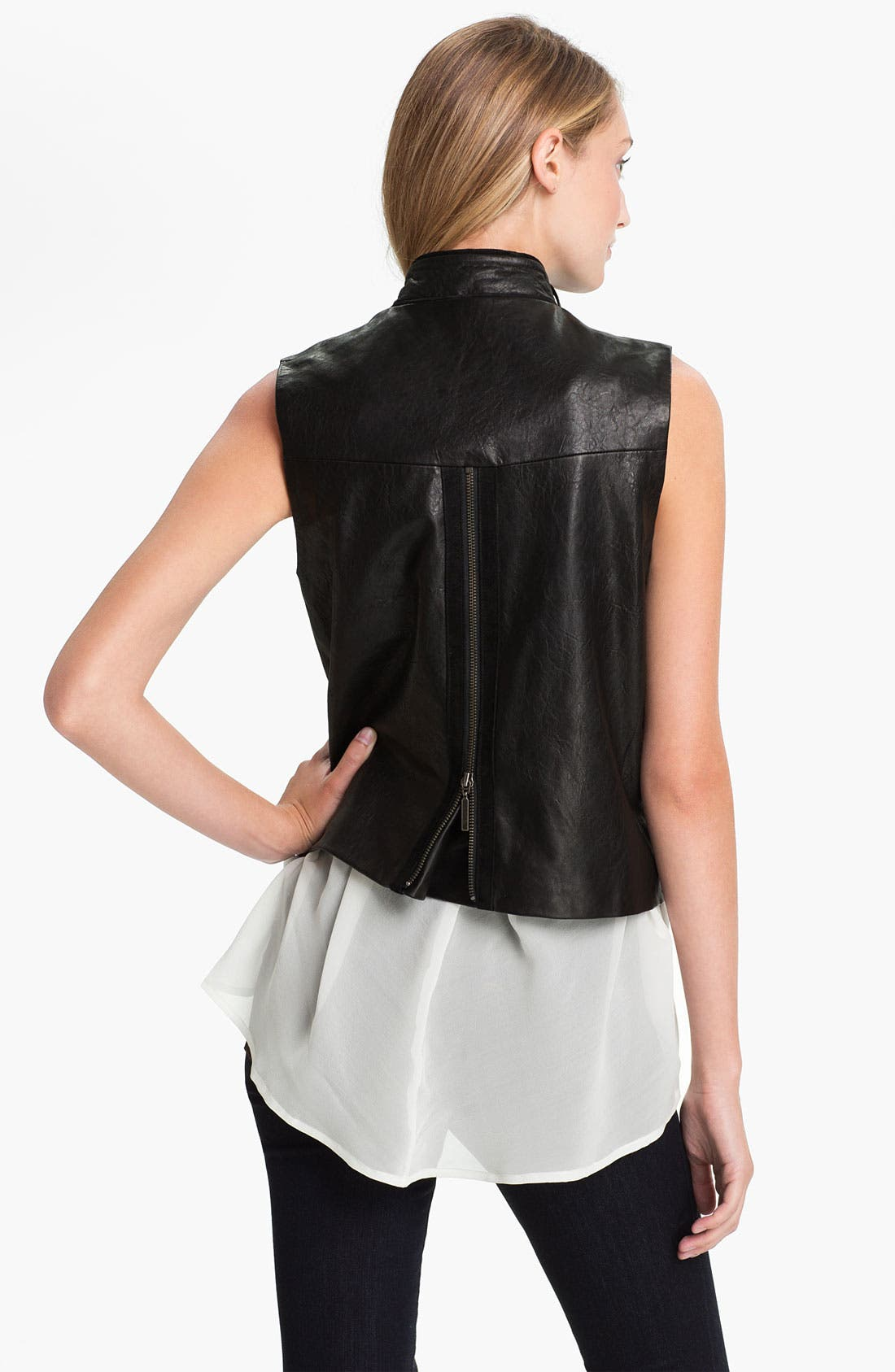 Alternate Image 2  - Two by Vince Camuto Zip Back Leather Vest
