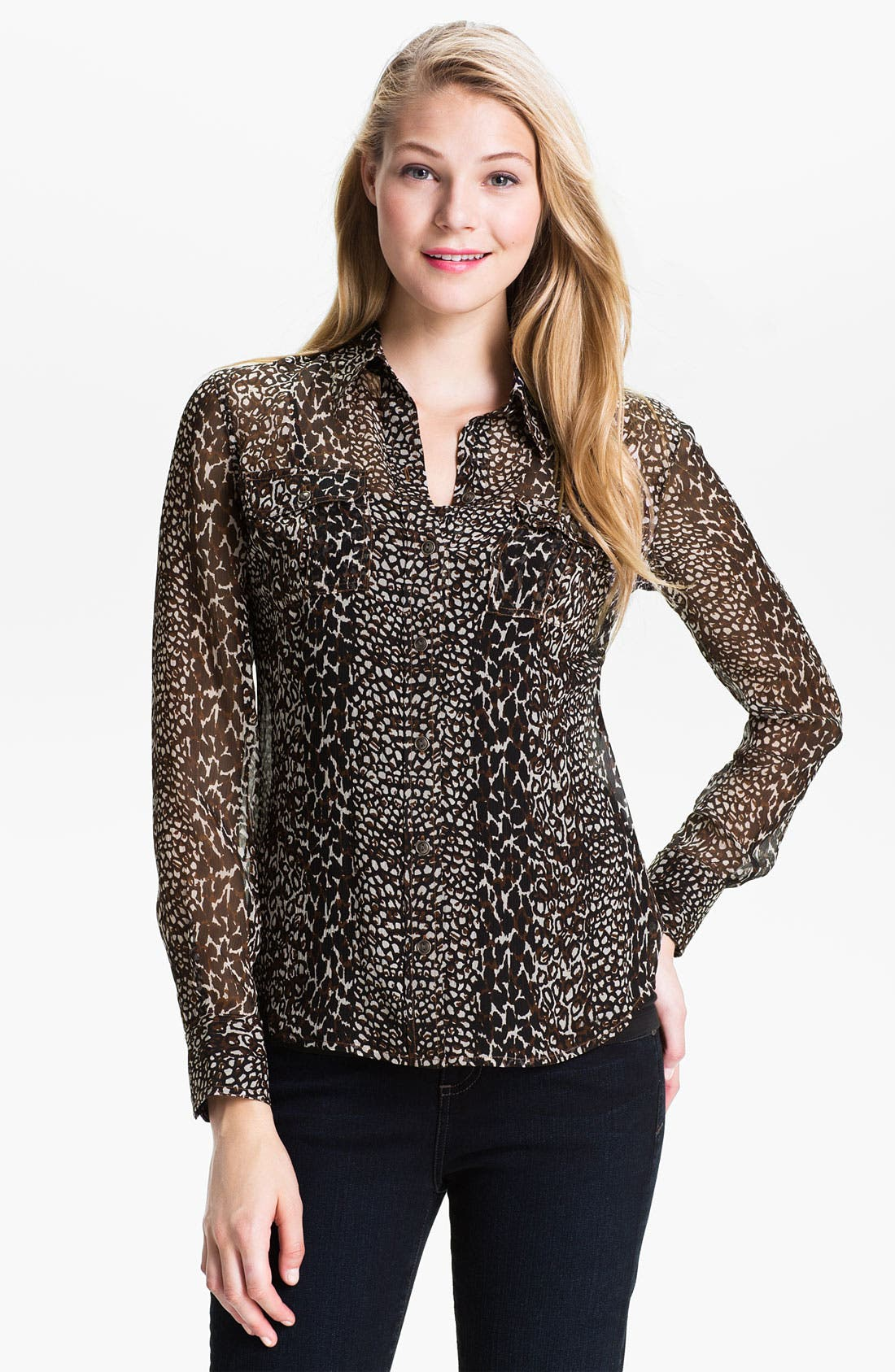 Alternate Image 1 Selected - Lucky Brand 'Joan' Animal Print Silk Blouse
