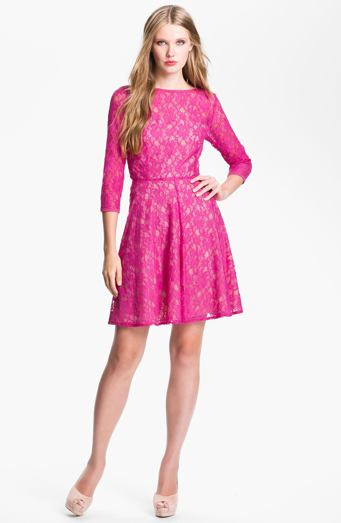 Main Image - French Connection 'Fast Iris' Lace Fit & Flare Dress