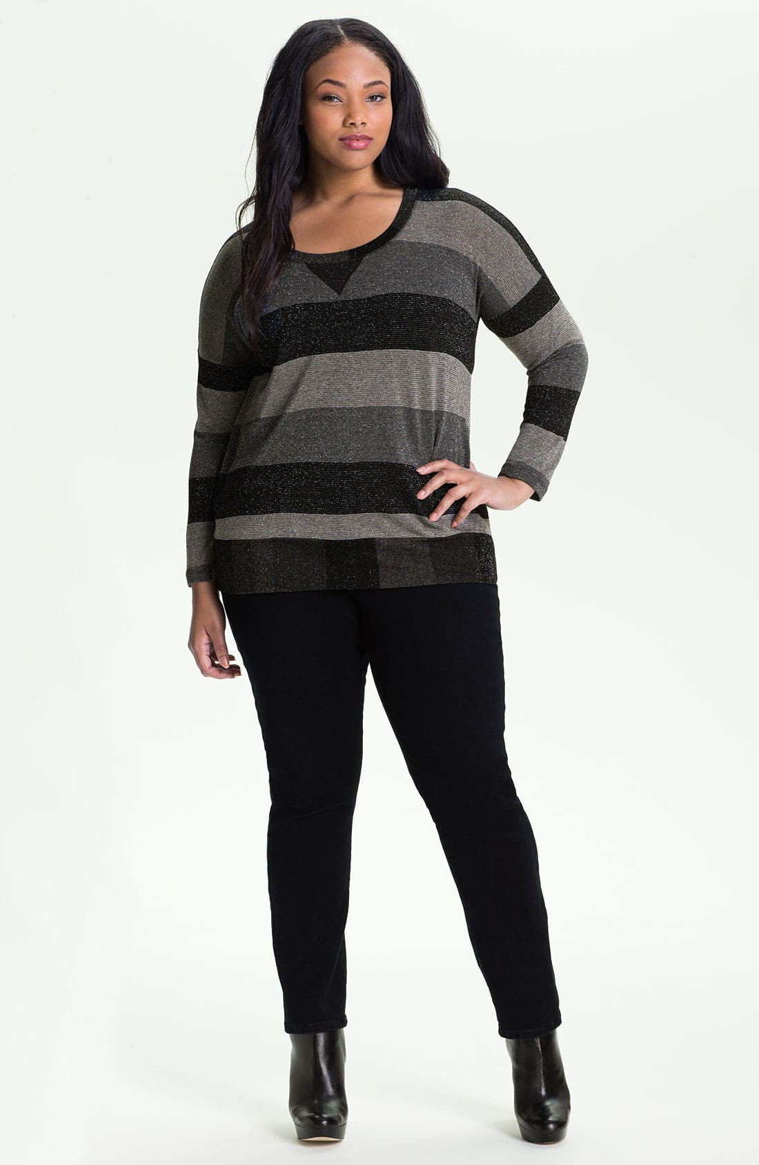 Main Image - Splendid Metallic Stripe Pullover (Plus)