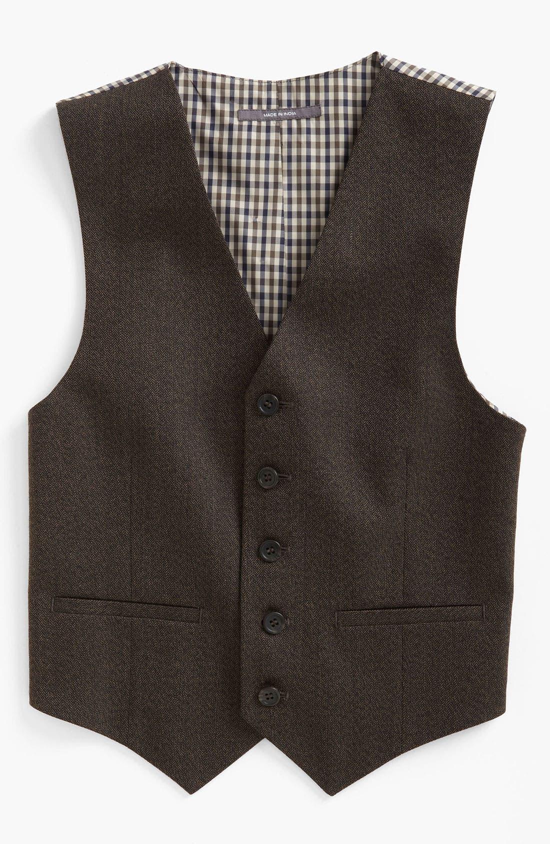 Main Image - Nordstrom 'Andrew' Herringbone Vest (Big Boys)
