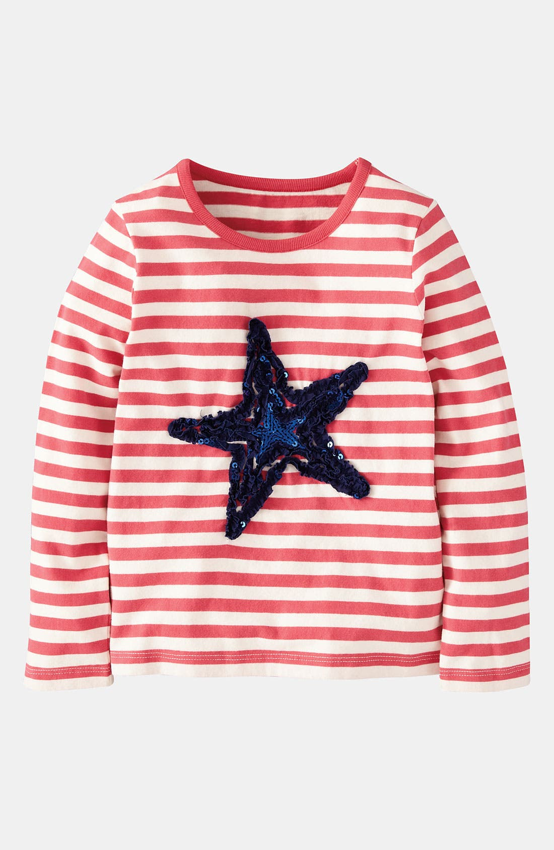 Alternate Image 1 Selected - Mini Boden 'Stripe & Sparkle' Tee (Little Girls & Big Girls)