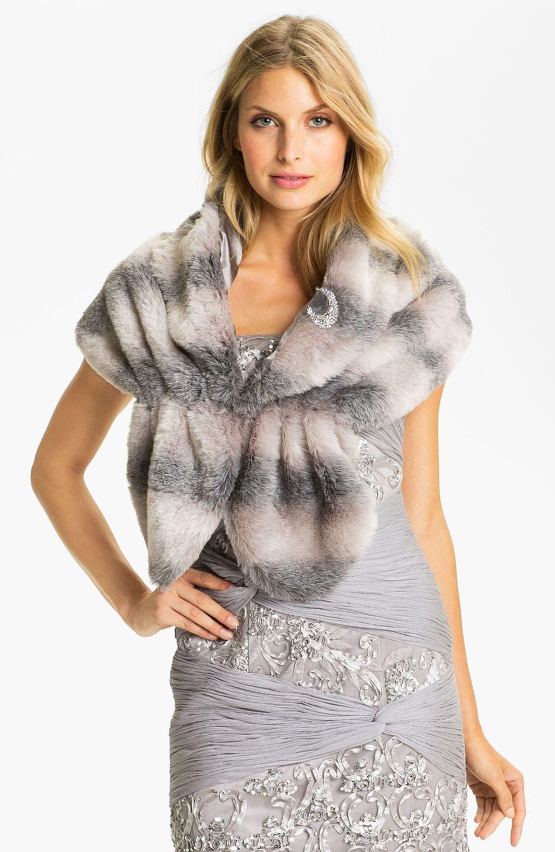 Alternate Image 1 Selected - Sue Wong Faux Fur Wrap