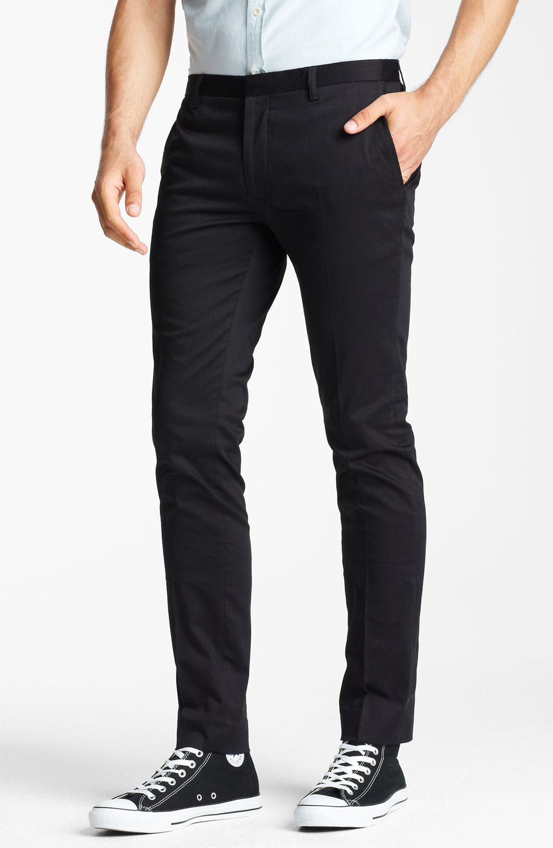 Main Image - Topman Ultra Skinny Flat Front Trousers