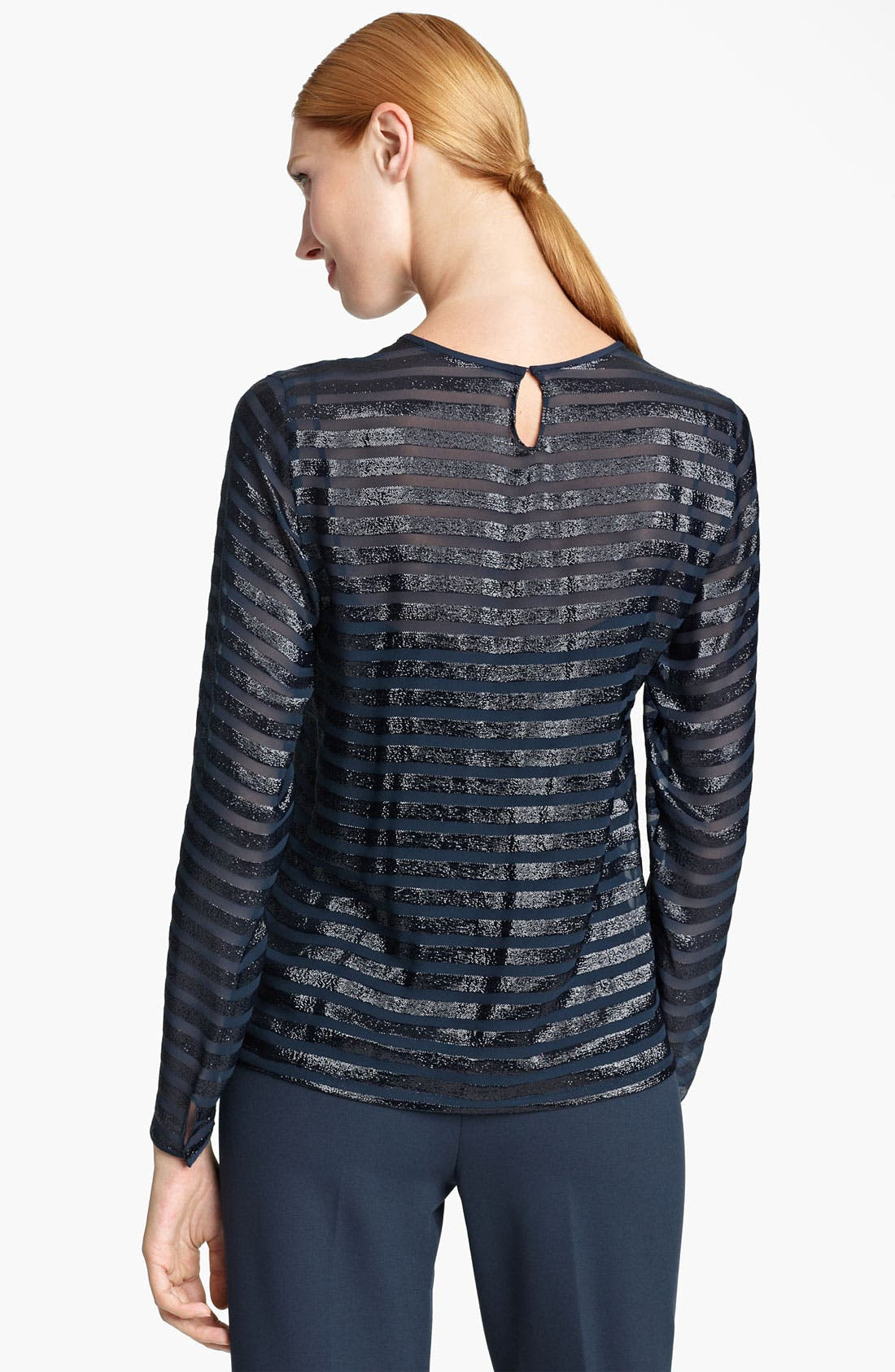 Alternate Image 3  - Max Mara 'Farisco' Stripe Metallic Silk Blouse