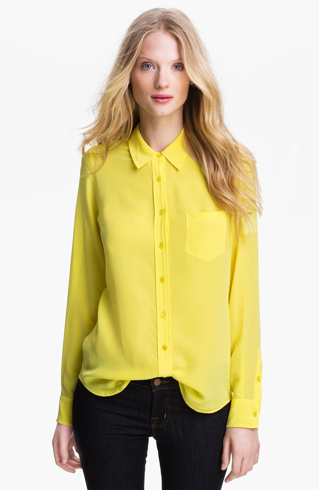'Brett' Silk Top,                         Main,                         color, Blazing Yellow