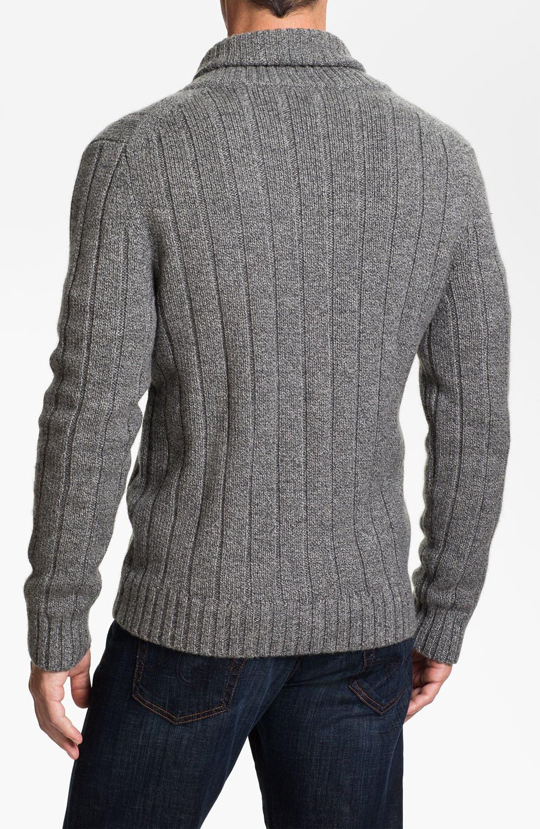 Alternate Image 2  - Façonnable Tailored Denim Shawl Collar Merino Wool Cardigan