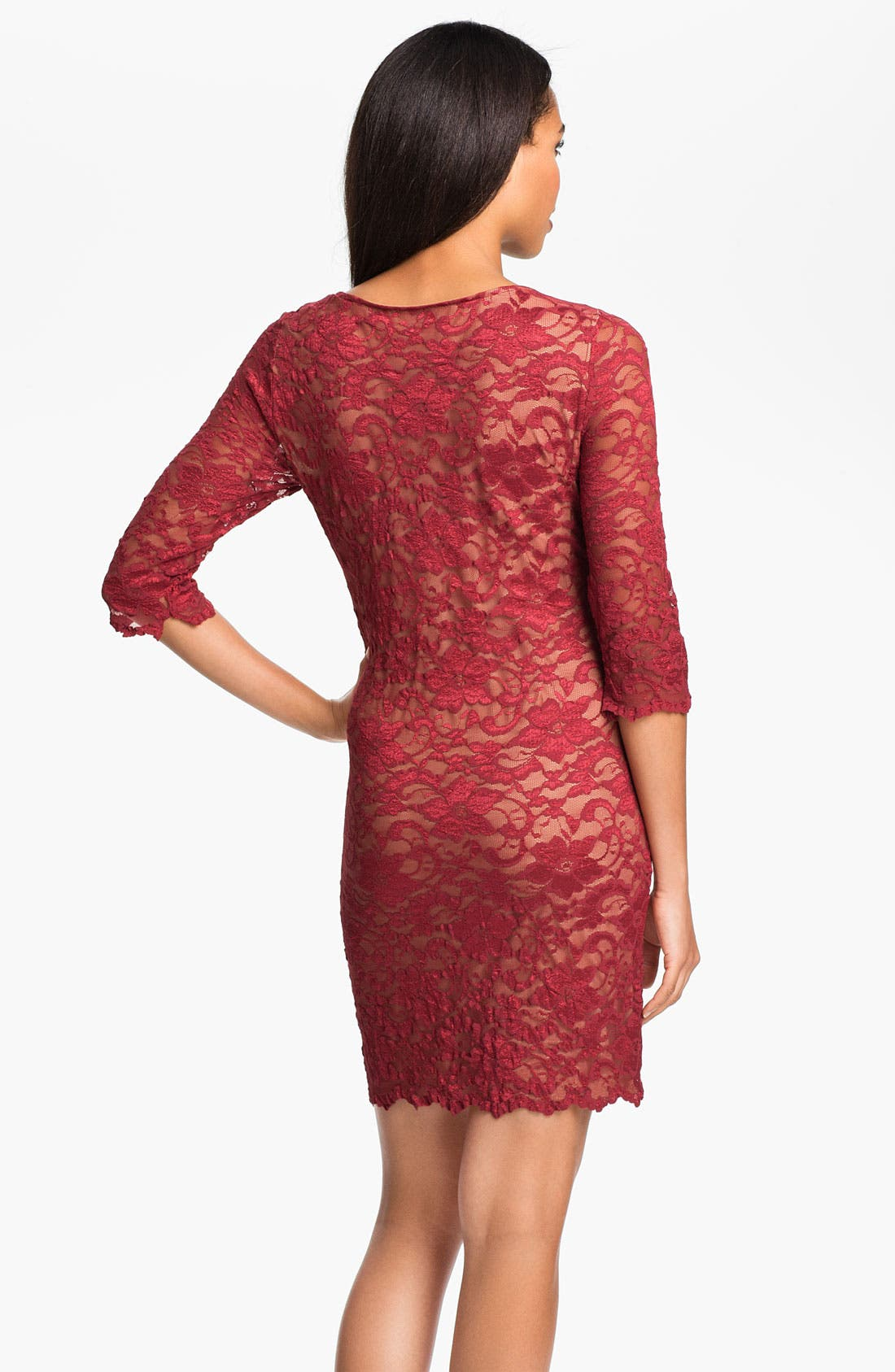 Lace Overlay Dress,                             Alternate thumbnail 2, color,                             Red