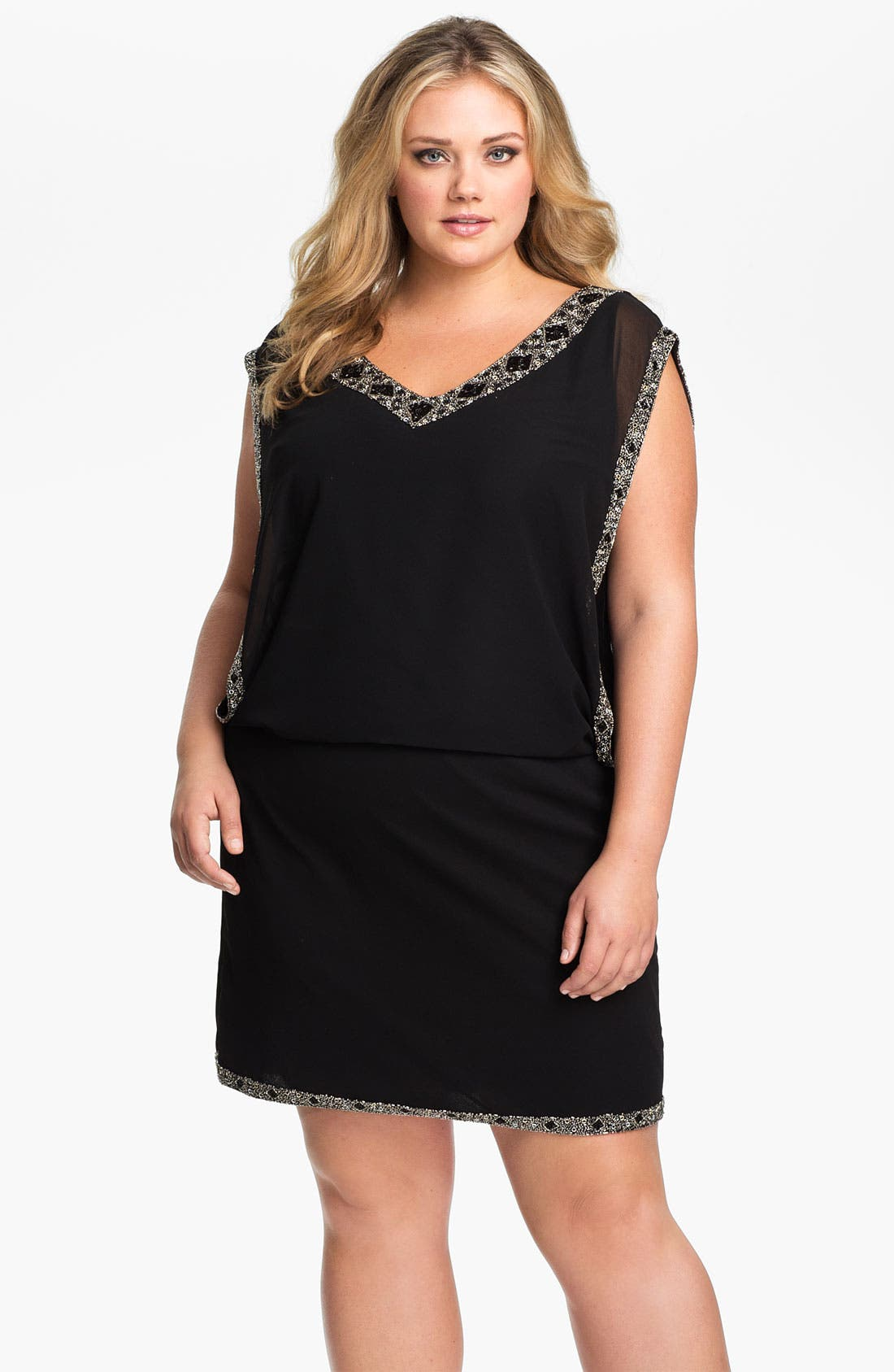 Main Image - J Kara Beaded Trim Chiffon Blouson Dress (Plus)