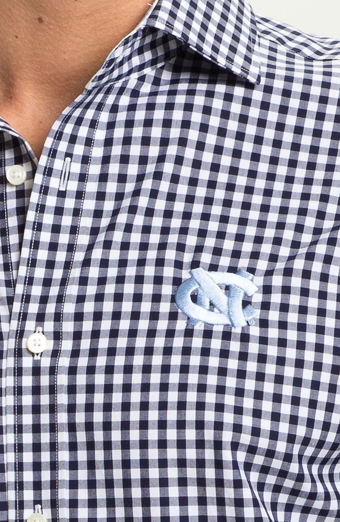 Alternate Image 3  - Thomas Dean 'University of North Carolina' Gingham Sport Shirt
