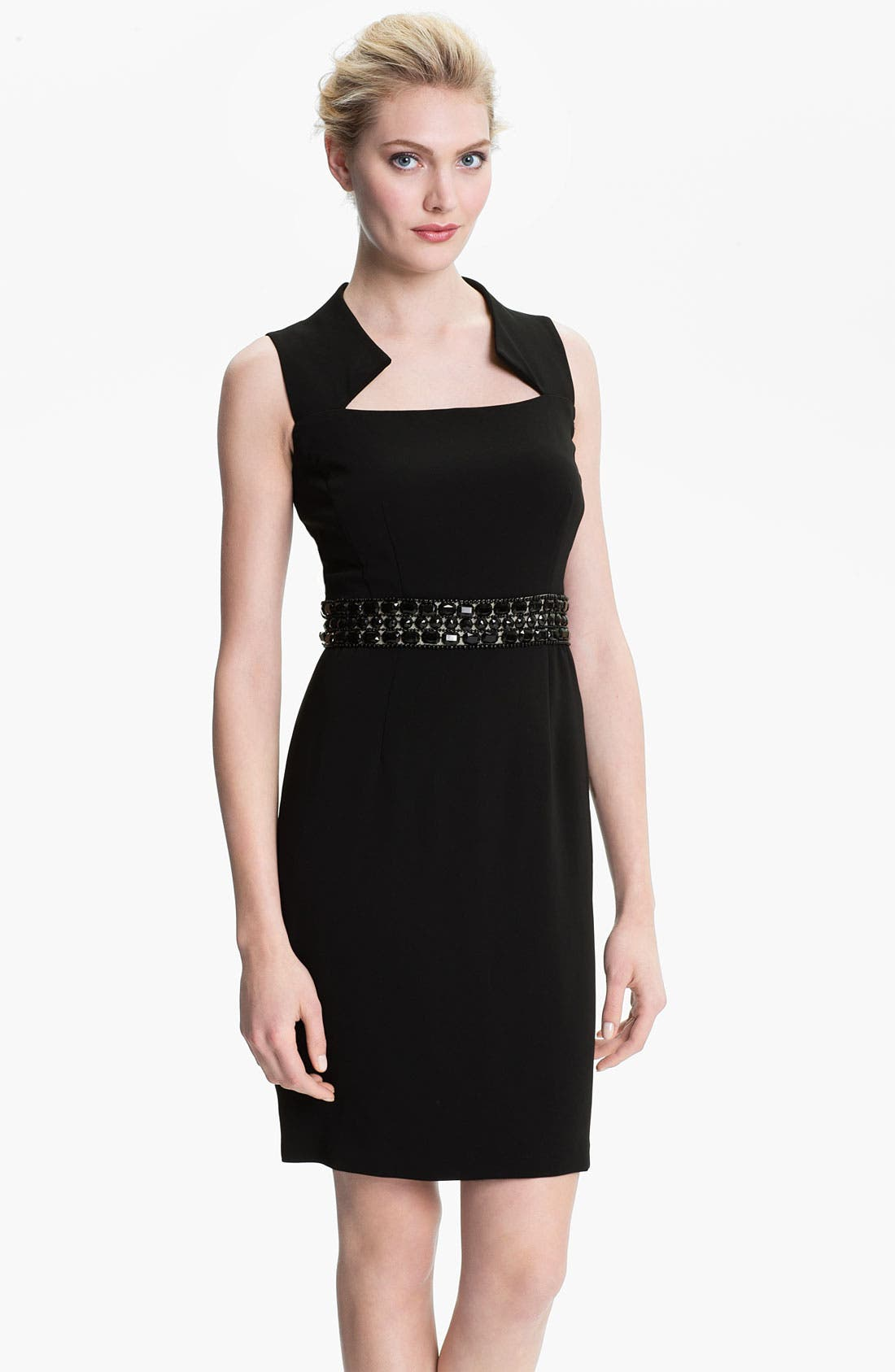 Main Image - Donna Ricco Notch Collar Beaded Waist Sheath Dress