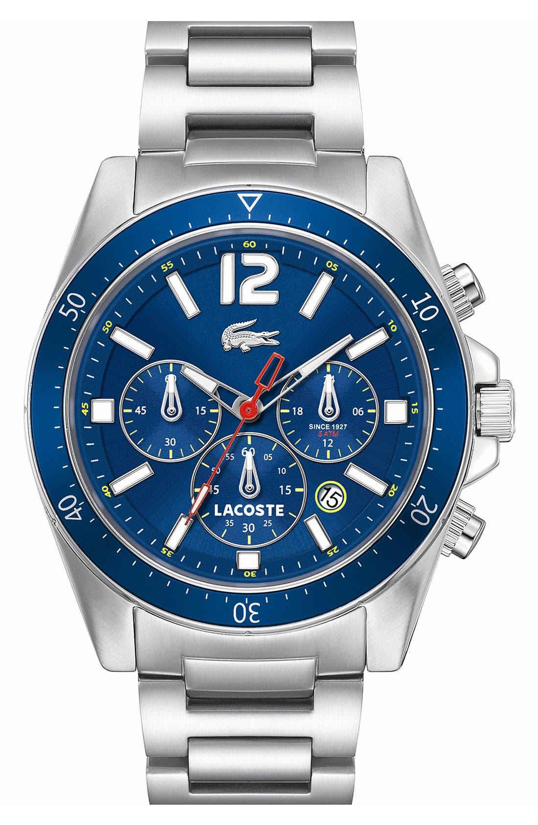 'Seattle' Chronograph Aluminum Bezel Bracelet Watch, 43mm,                         Main,                         color, Silver/ Blue