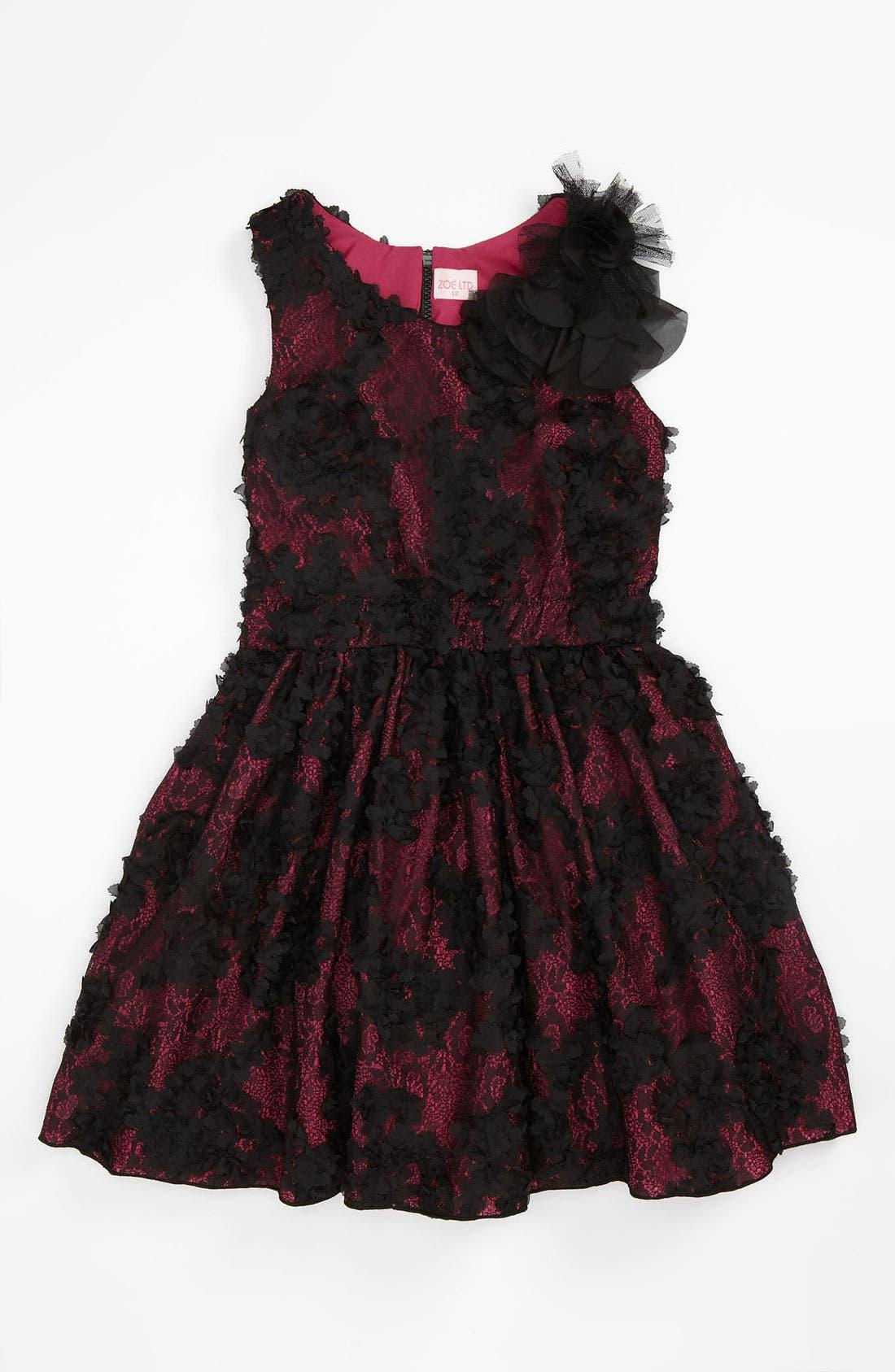 Alternate Image 1 Selected - Zoe Ltd Floral Mesh Dress (Big Girls)