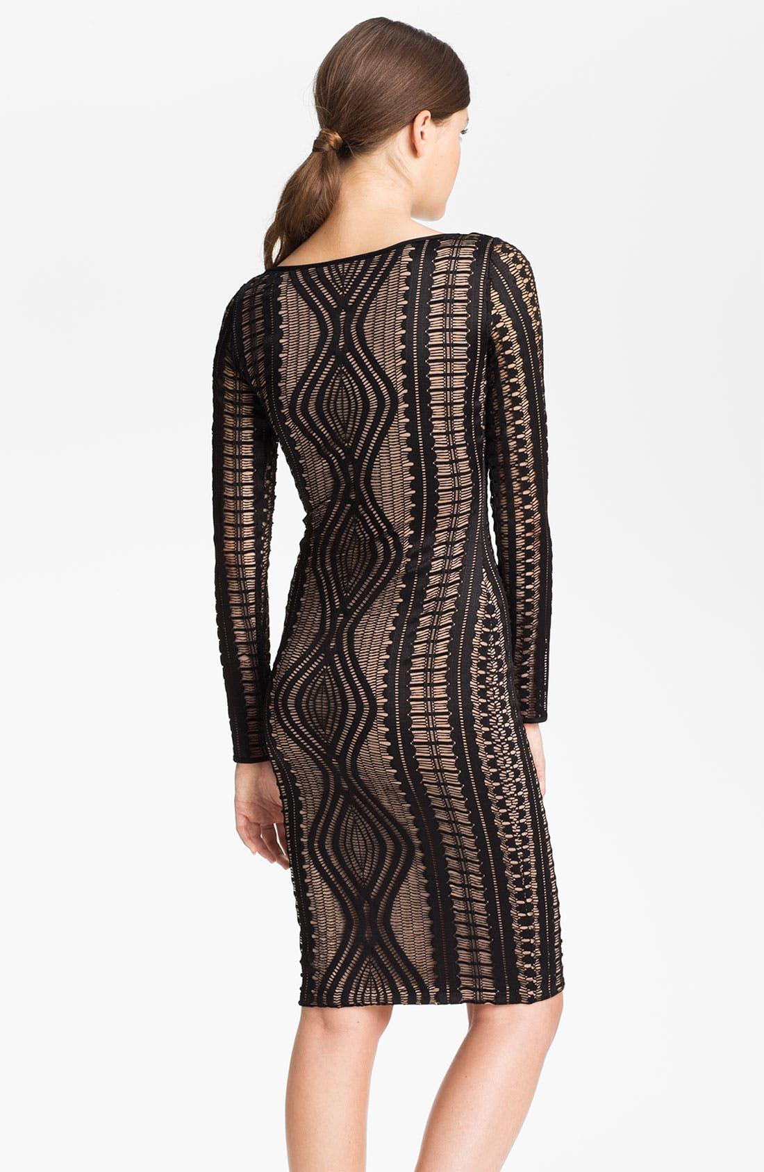 Alternate Image 2  - BCBGMAXAZRIA Long Sleeve Lace Sheath Dress