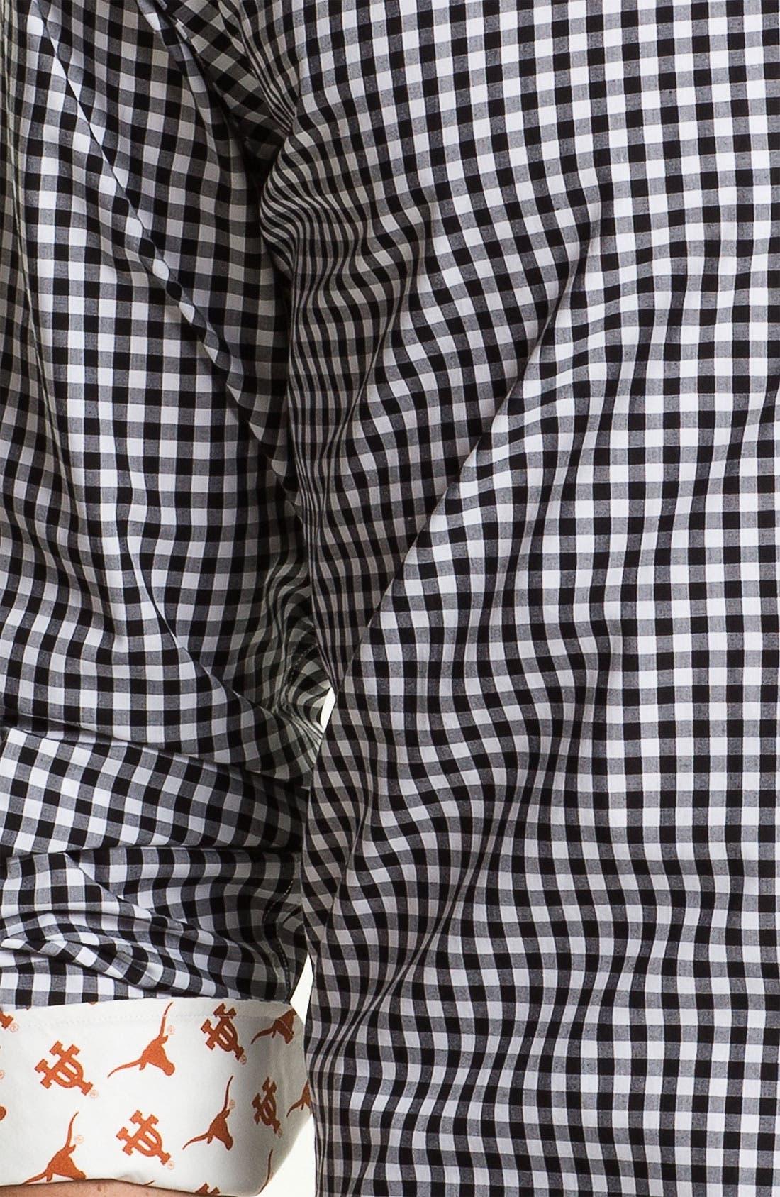 Alternate Image 3  - Thomas Dean 'University of Texas' Gingham Sport Shirt (Online Only)