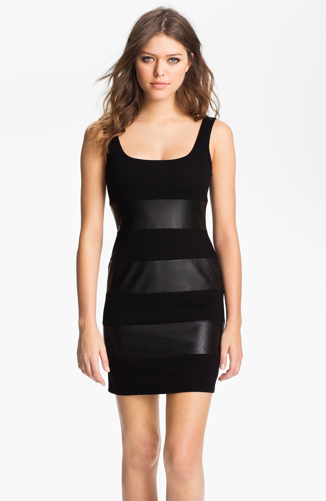 Alternate Image 1 Selected - B44 Dressed by Bailey 44 'Little Black Dress' Faux Leather Stripe Tank Dress