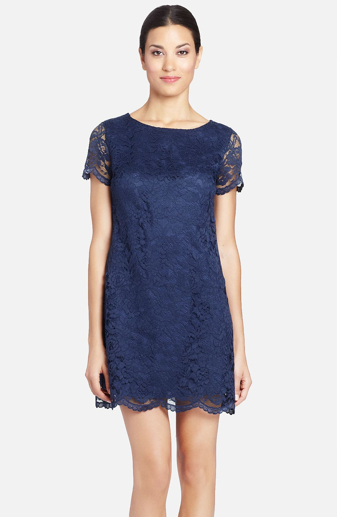 Alternate Image 1 Selected - Cynthia Steffe 'Reese' Illusion Sleeve Lace Shift Dress