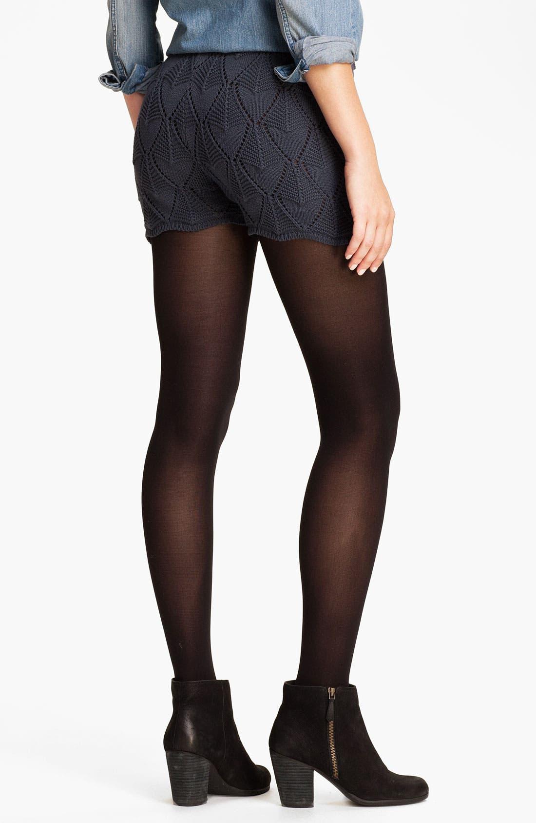 Alternate Image 2  - Cotton Emporium Pointelle Sweater Shorts (Juniors)