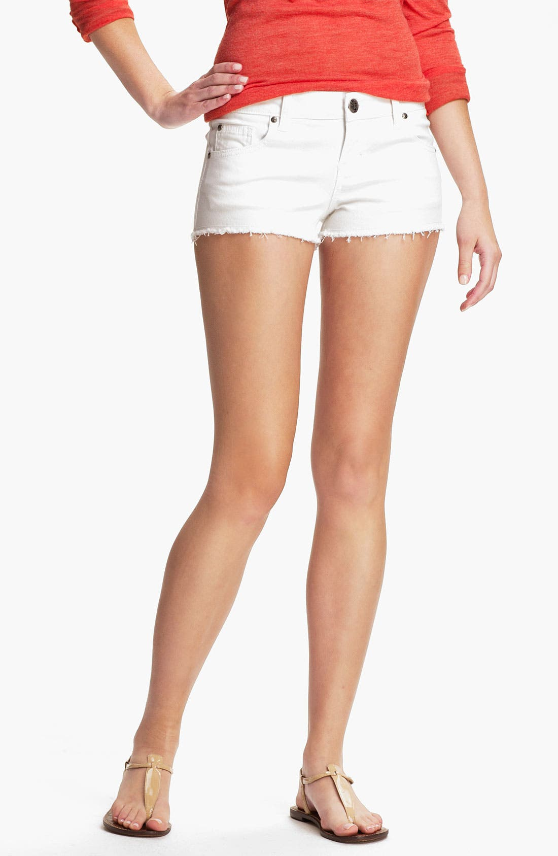 Alternate Image 1 Selected - STS Blue Cutoff Color Denim Shorts (White) (Juniors)