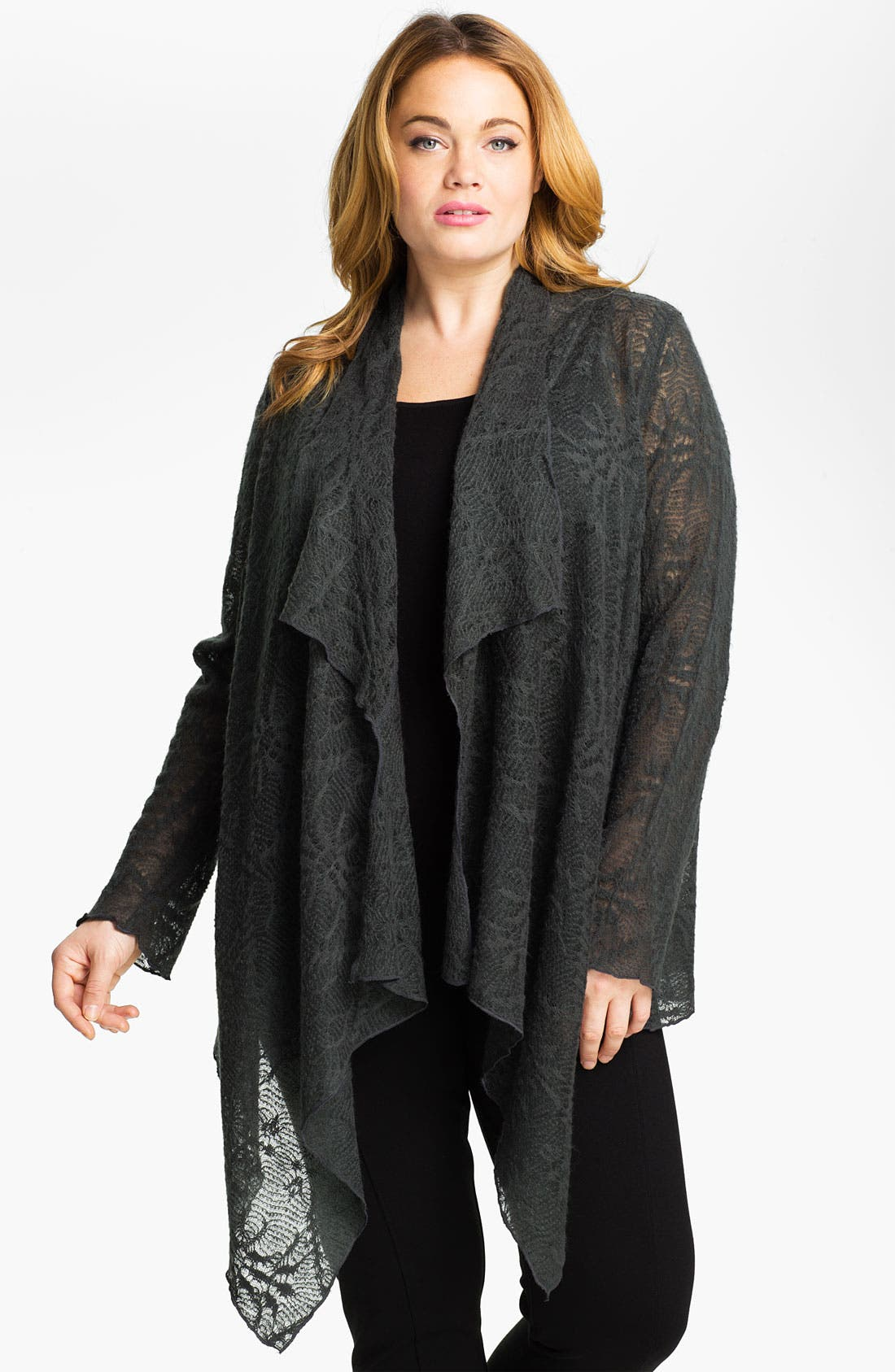 Main Image - Out of Ashes Short Crochet Waterfall Cardigan (Plus)