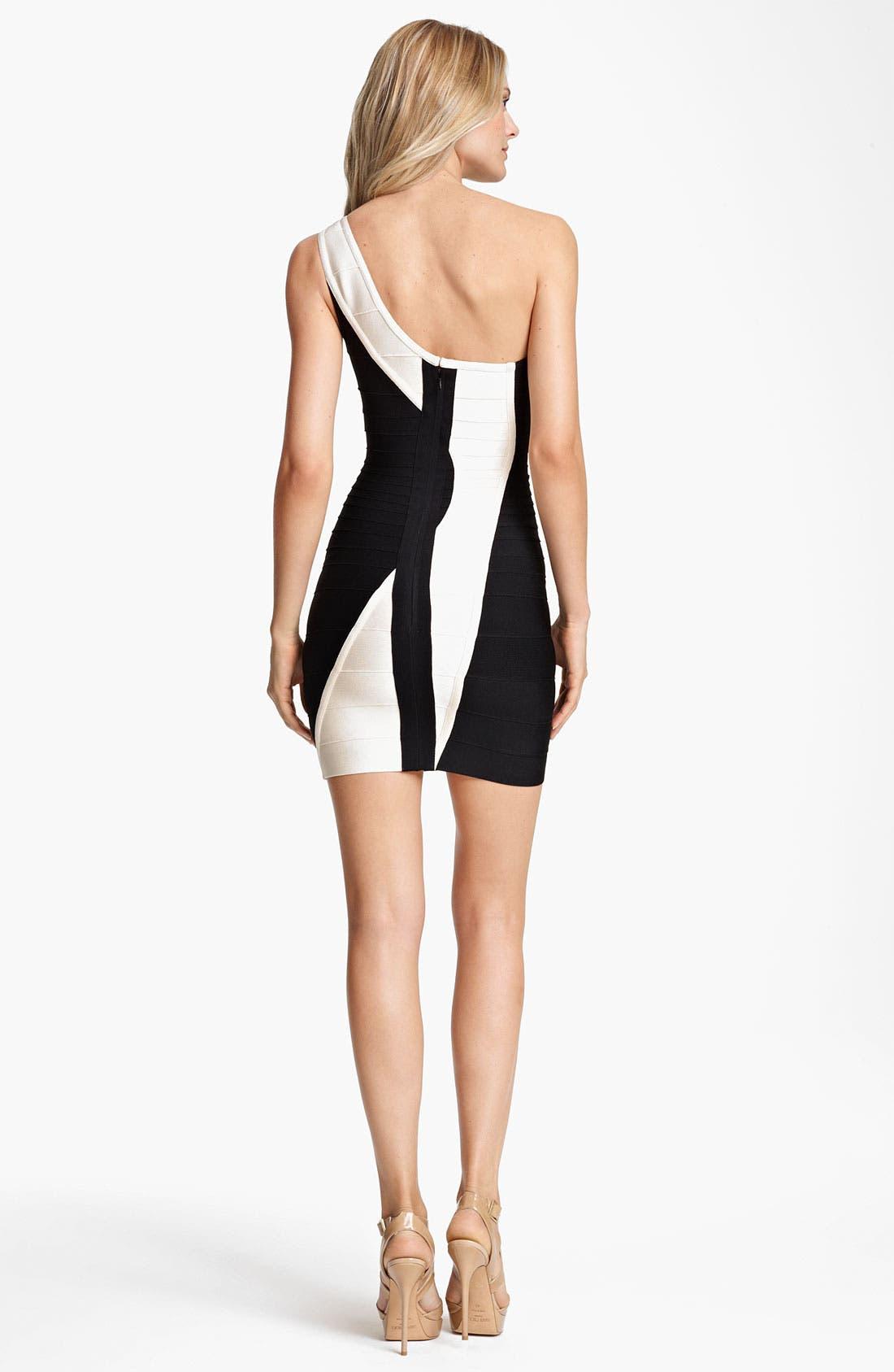 Alternate Image 2  - Herve Leger Colorblock One Shoulder Dress