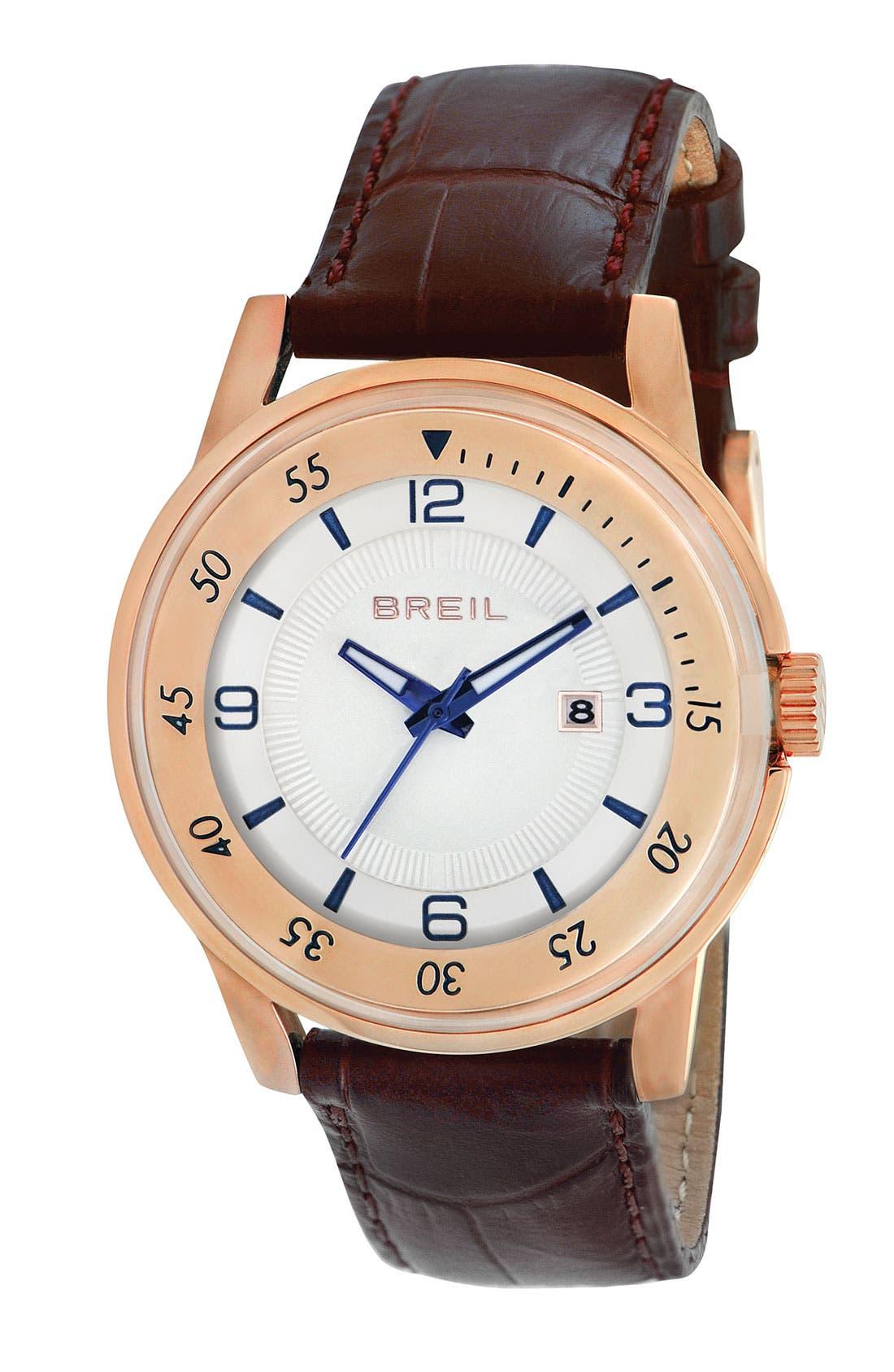 Main Image - Breil 'Orchestra' Round Leather Strap Watch, 40mm