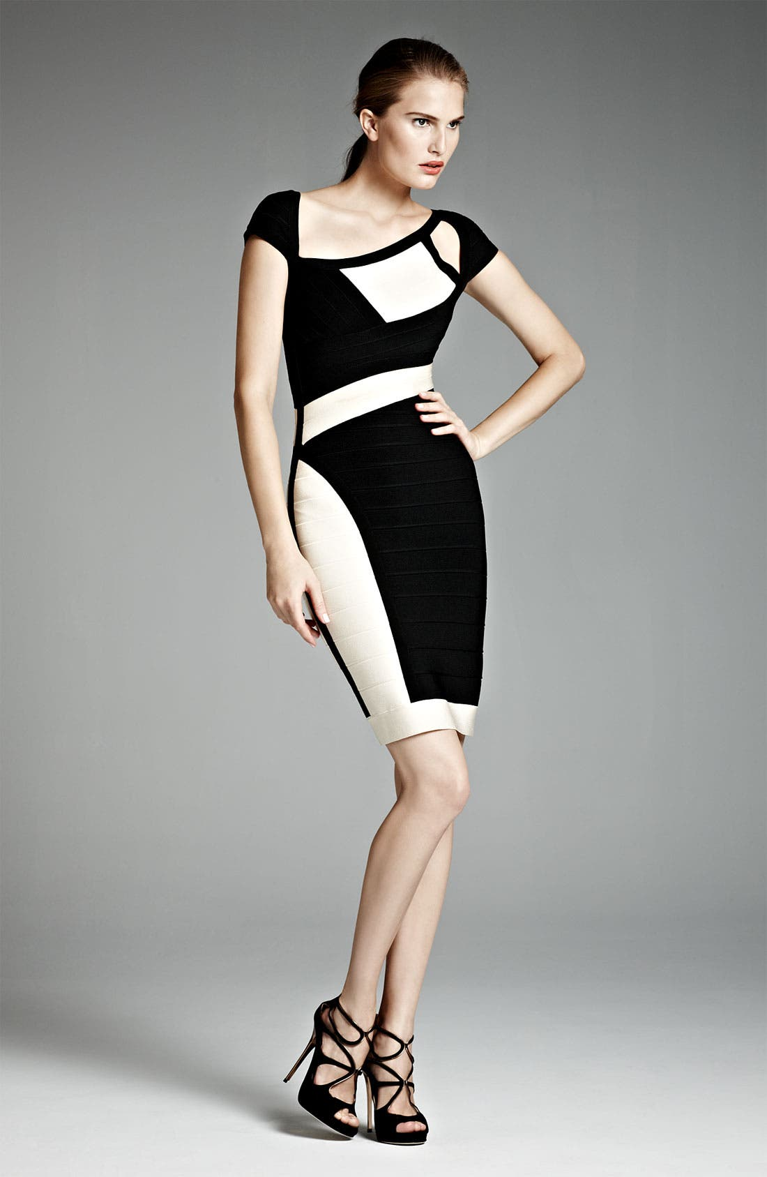 Alternate Image 4  - Herve Leger Colorblock Cutout Bandage Dress