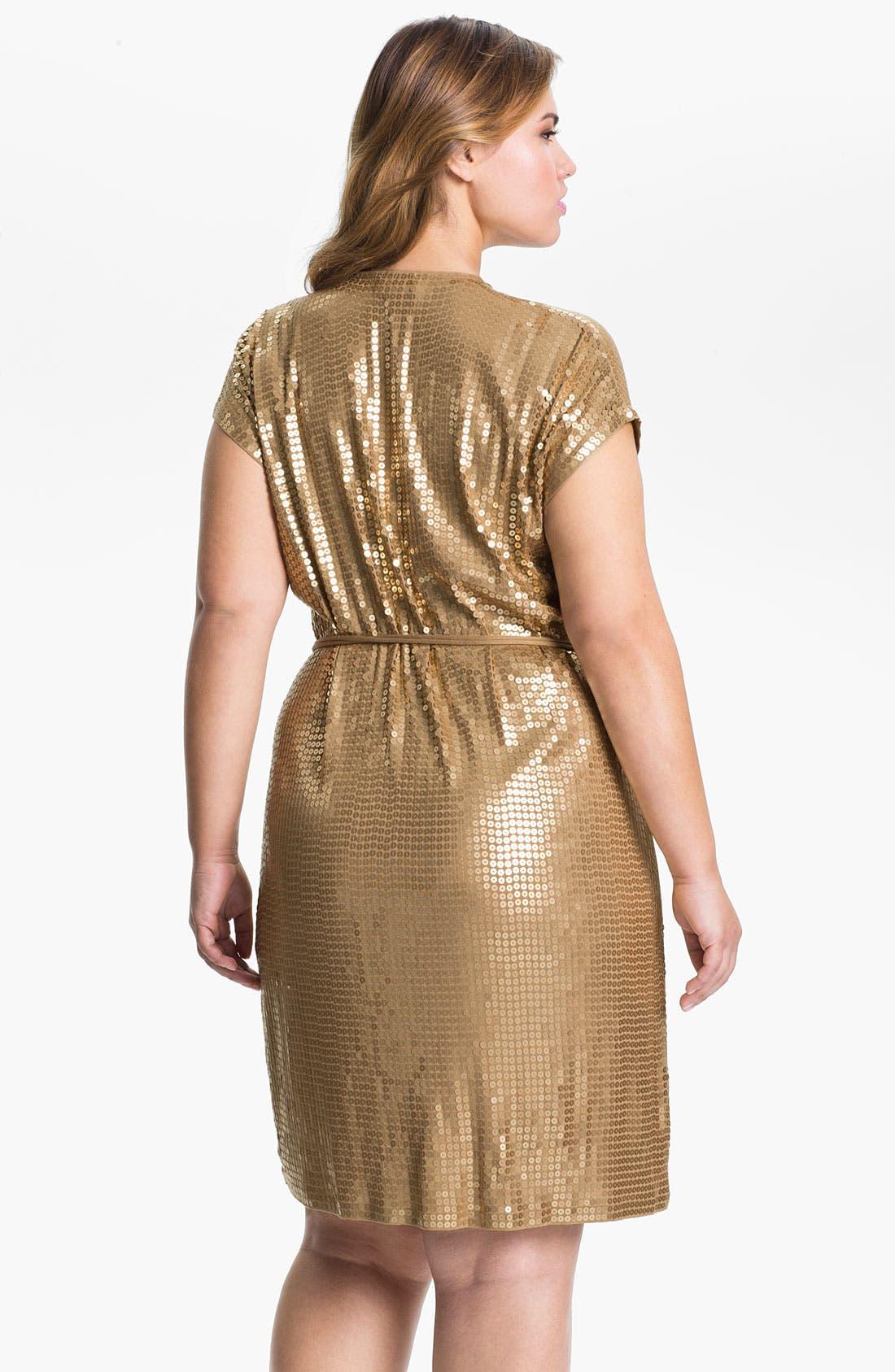 Alternate Image 2  - MICHAEL Michael Kors Sequin Wrap Dress (Plus)
