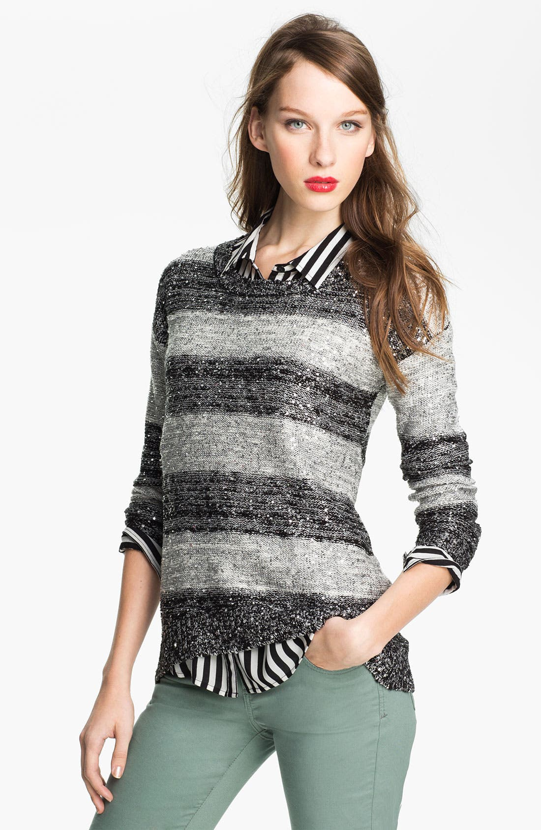 Alternate Image 1 Selected - One A Sequin Stripe Sweater
