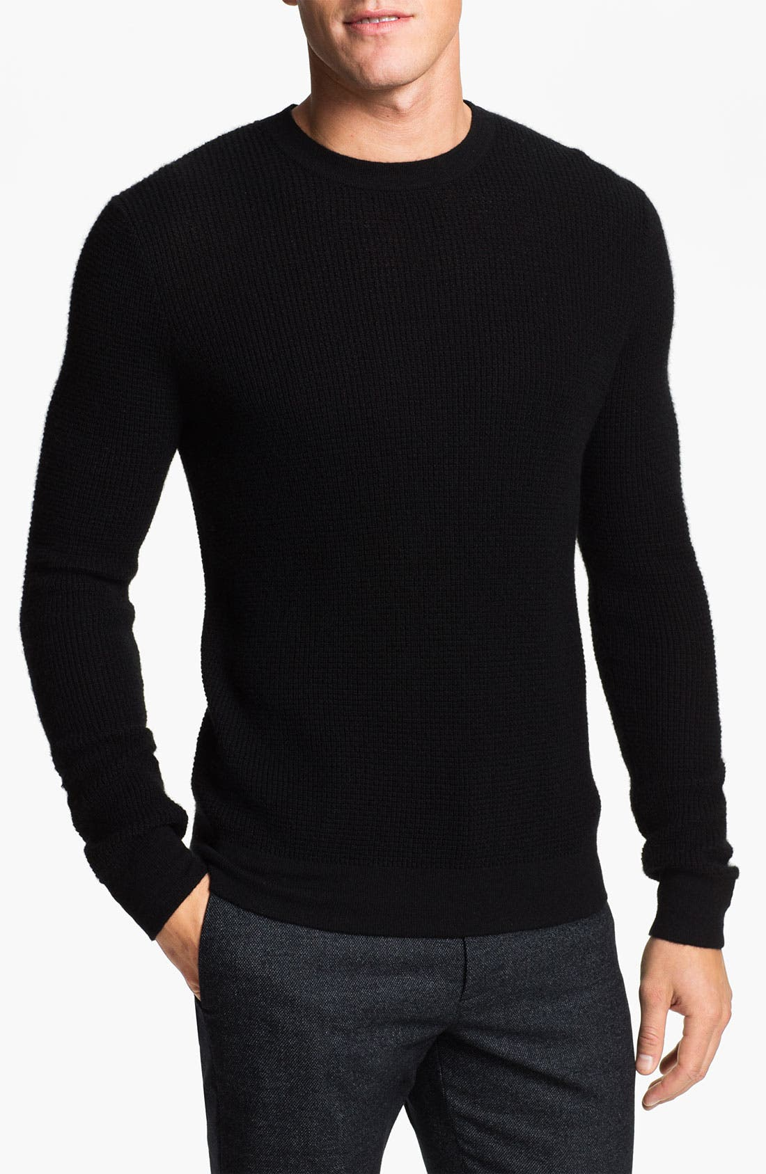 Alternate Image 1 Selected - Theory Waffle Knit Cashmere Crewneck Sweater