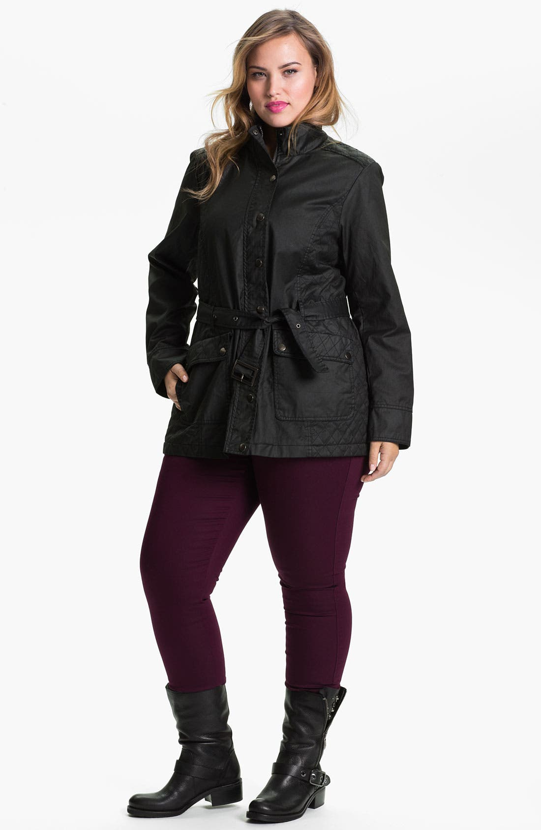 Alternate Image 4  - Evans Waxed Cotton Funnel Neck Jacket (Plus Size)